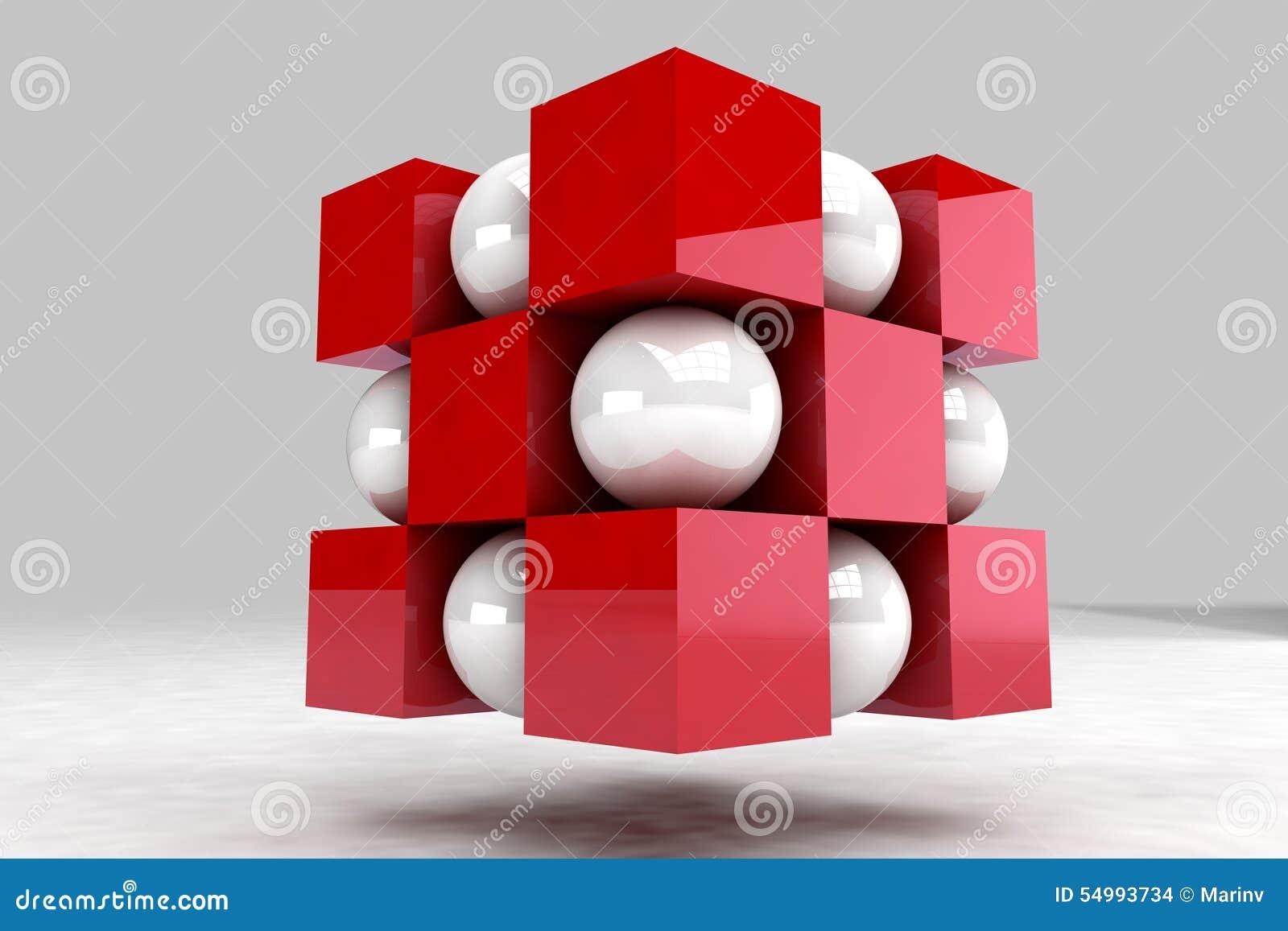 Geometrisk kropp som göras av vitbollar och röda kuber