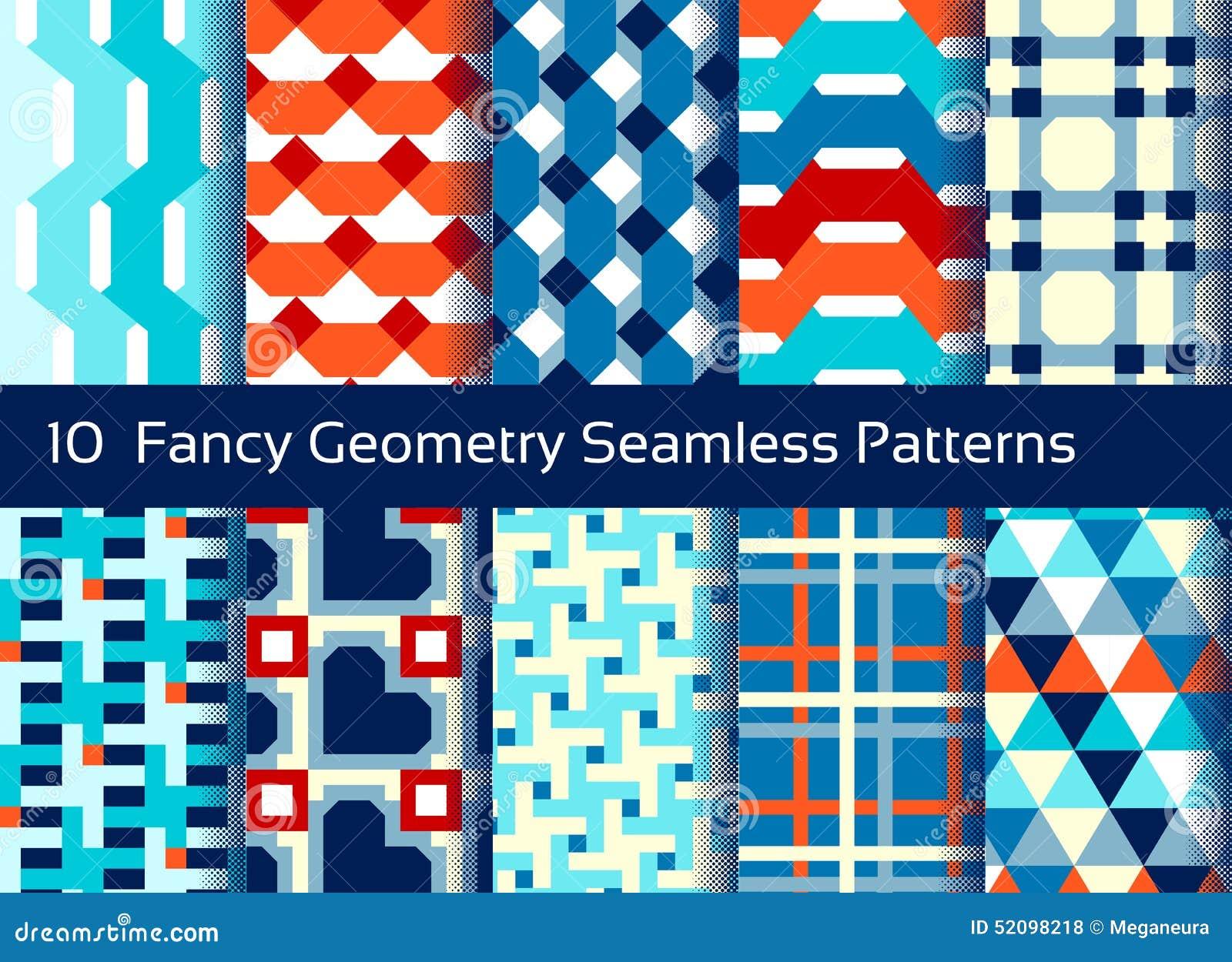 Geometrisk seamless modellbakgrund Uppsättning av 10 abstactmotiv