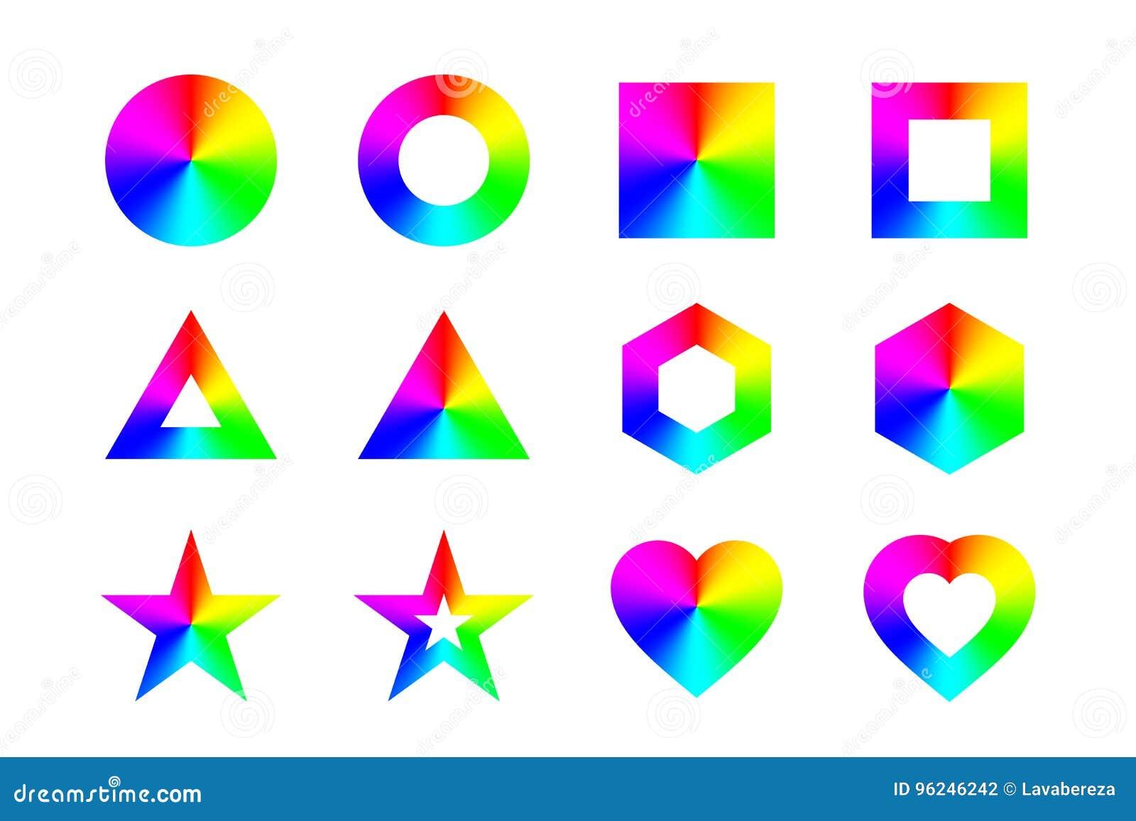 Geometriska former och ramar med den koniska regnbågelutningen som isoleras på vit bakgrund vektor