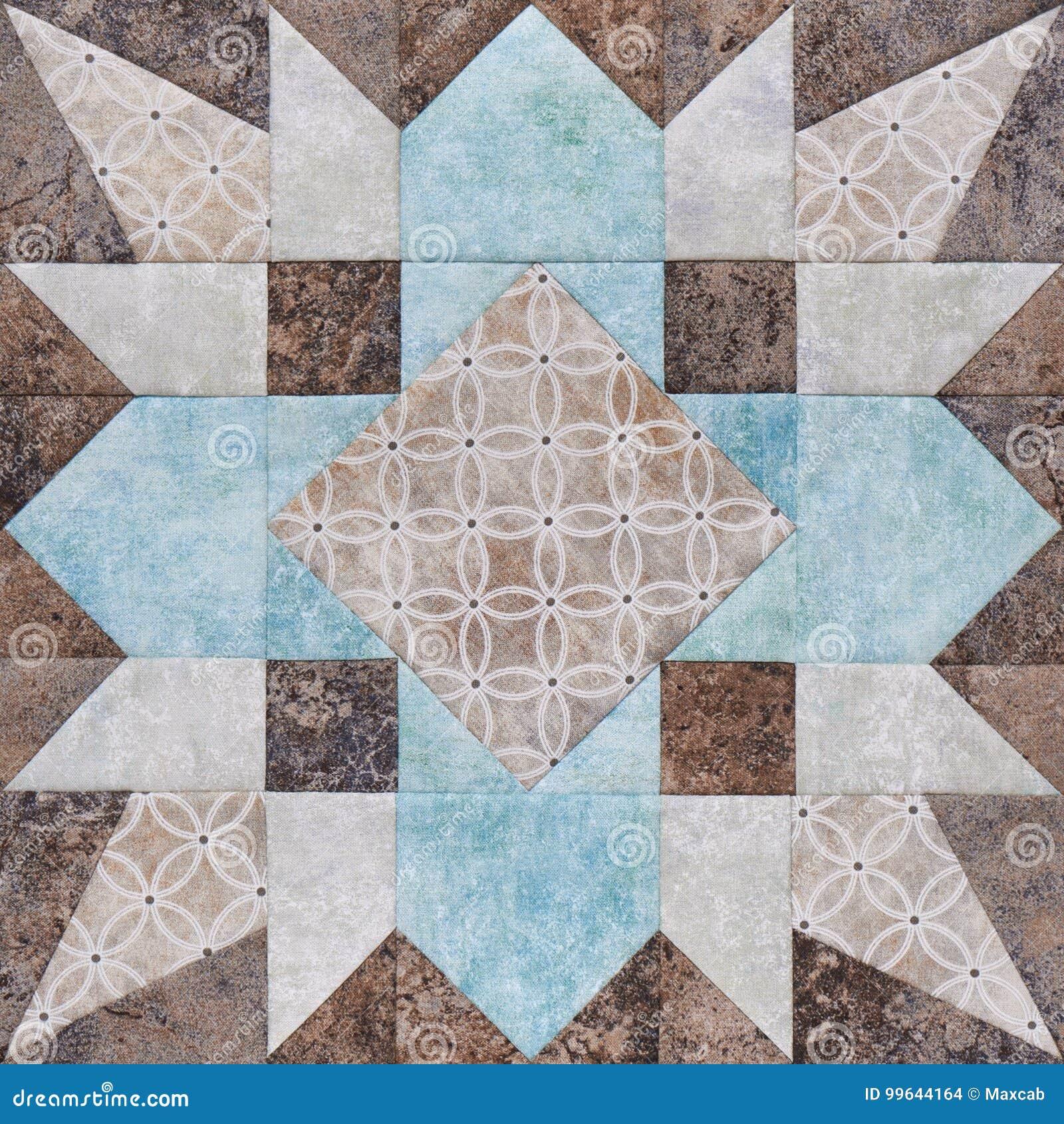 Geometriskt kvarter för patchwork från stycken av tyger, detalj av täcket
