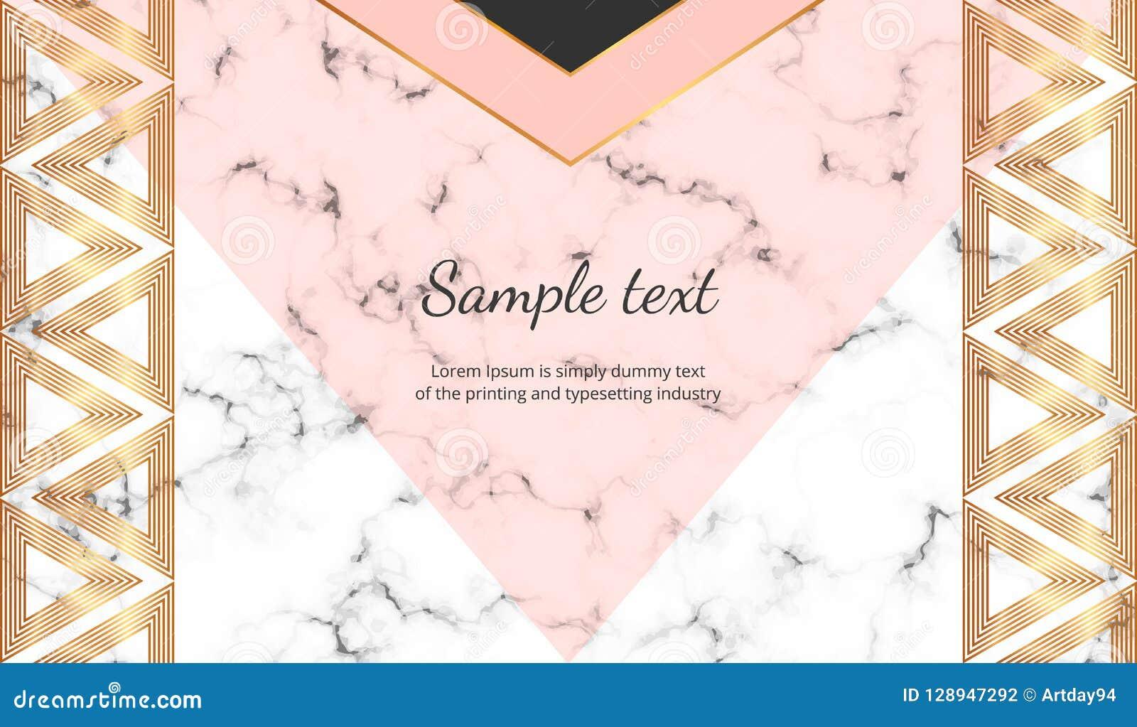 Geometriskt med triangelbanret Modern lyx- och modedesign med marmortextur Horisontalmall för affär, kort, fluga