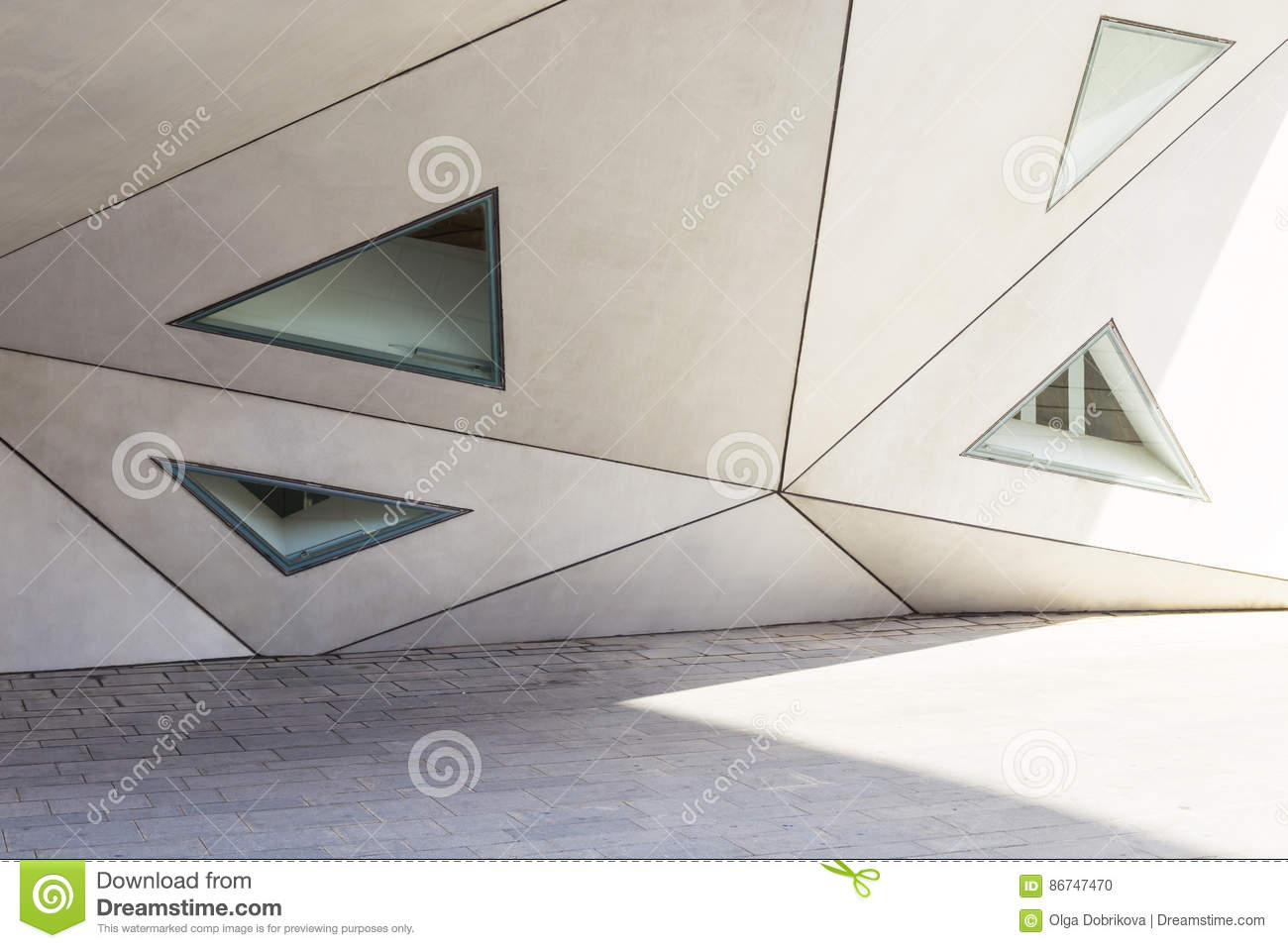 Geometry in architecture, part of the facade of the building, tr
