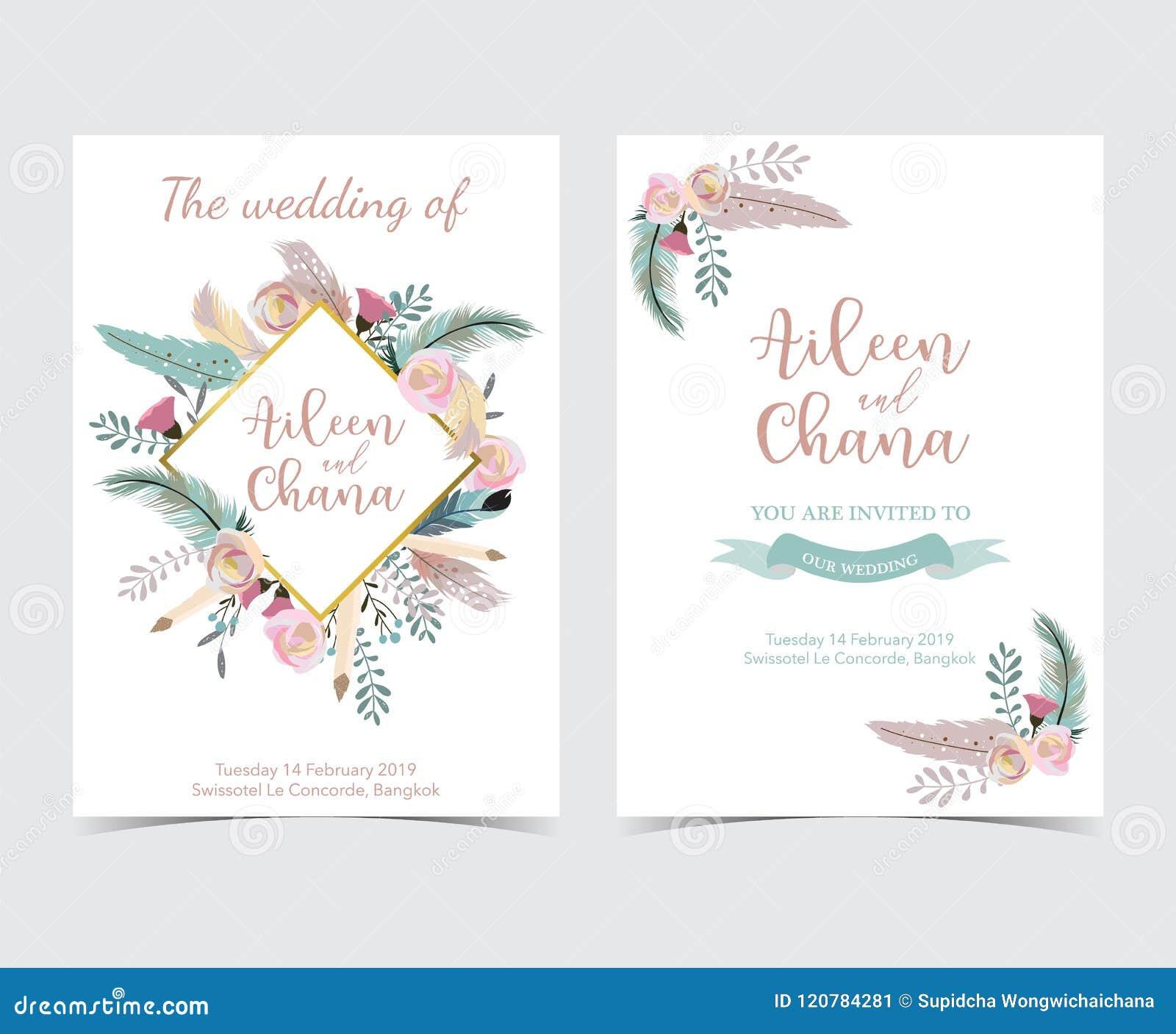 Geometry Gold Wedding Invitation Card With Flower Leaf