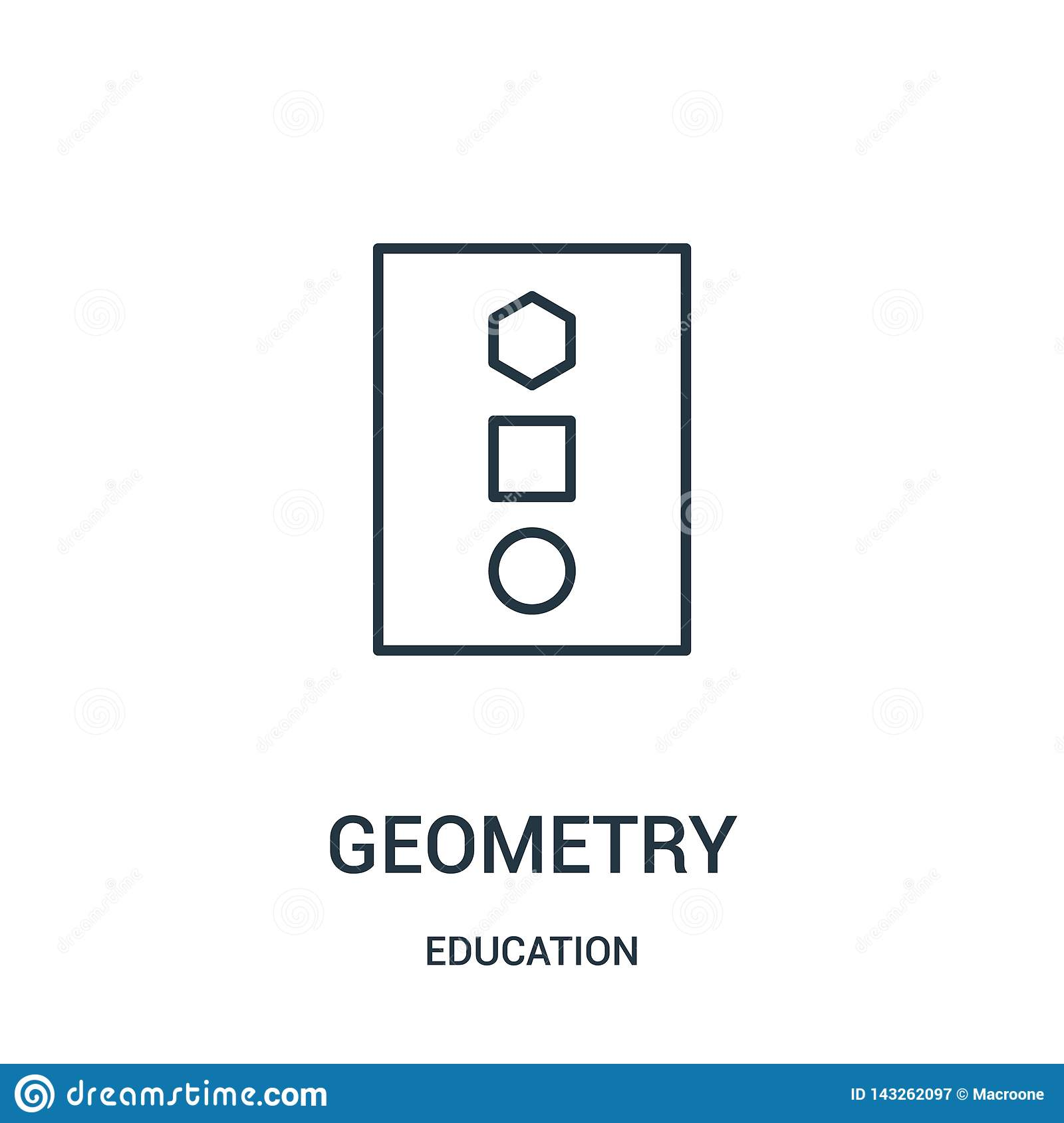 geometry icon vector from education collection. Thin line geometry outline icon vector illustration