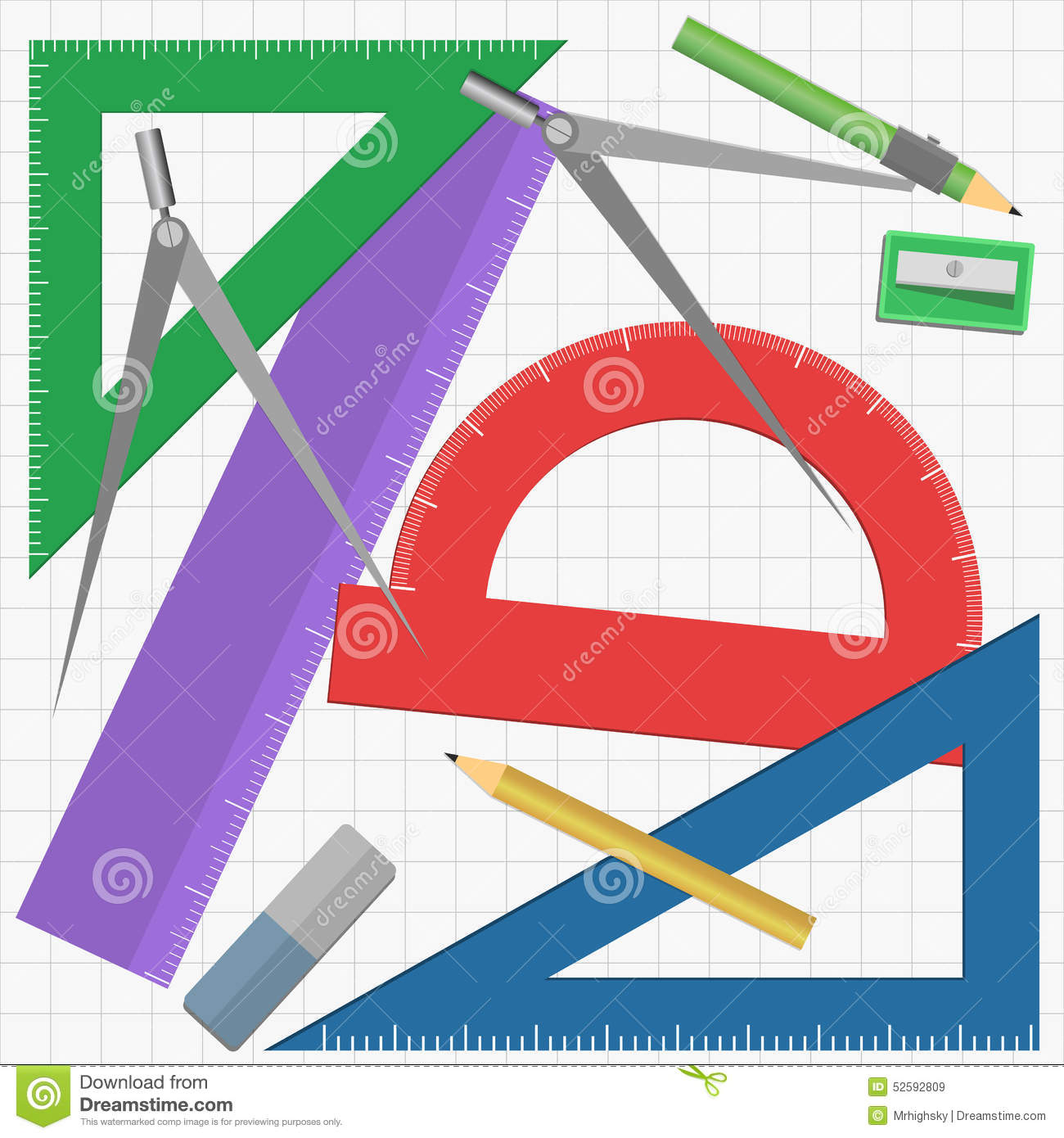 geometry instruments vector illustration different colored grid background 52592809