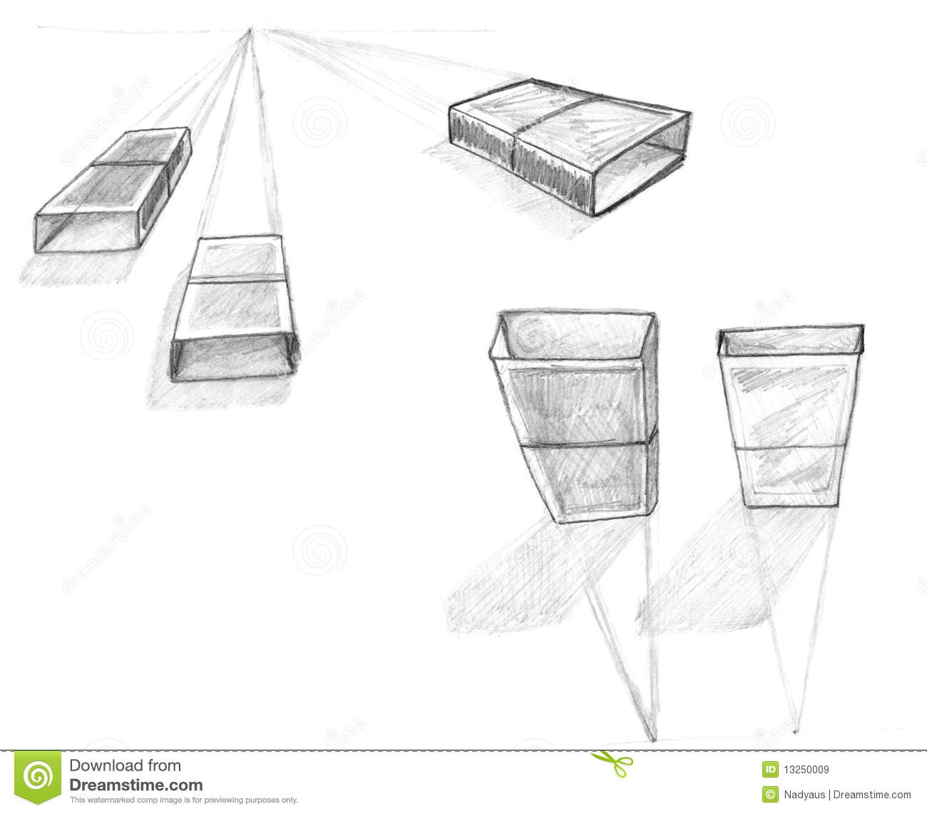 Geometry Perspective Drawing Sketch Royalty Free Stock
