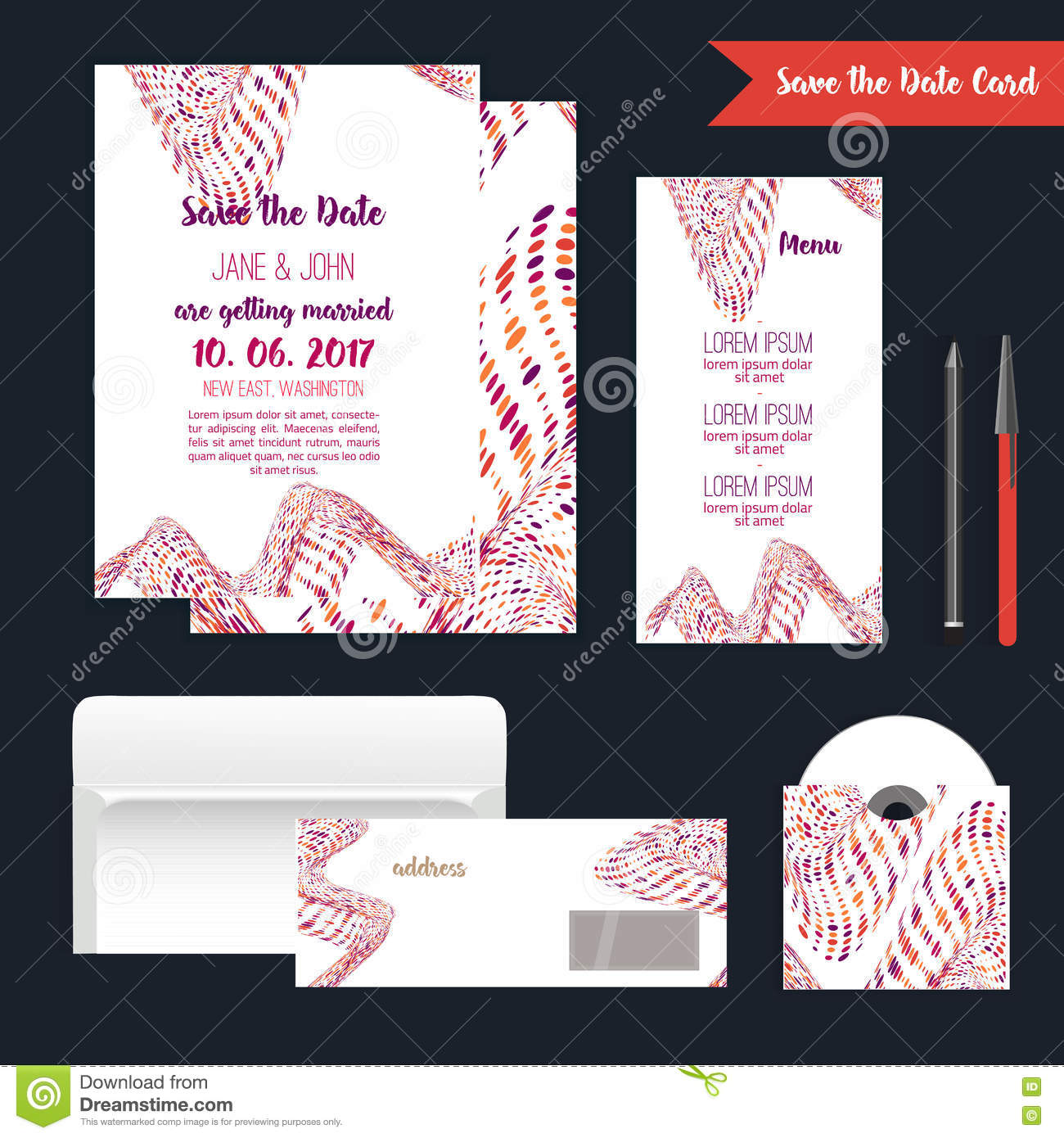 Geometry Save The Date Card With Modern Colorful Shapes