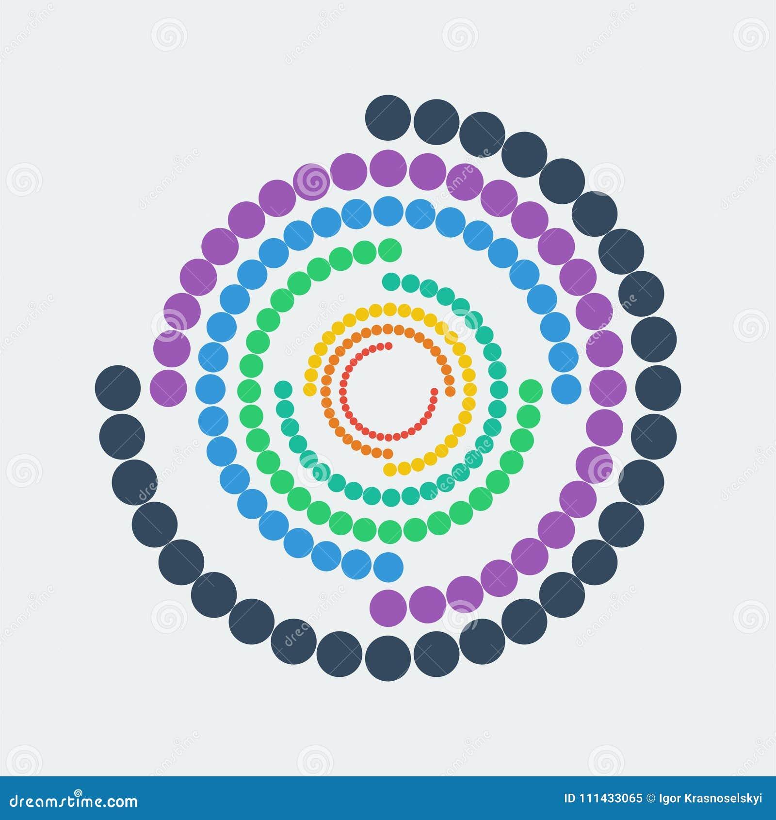 Geometryczna abstrakcjonistyczna postać Kolorowe kropki w okręgu również zwrócić corel ilustracji wektora