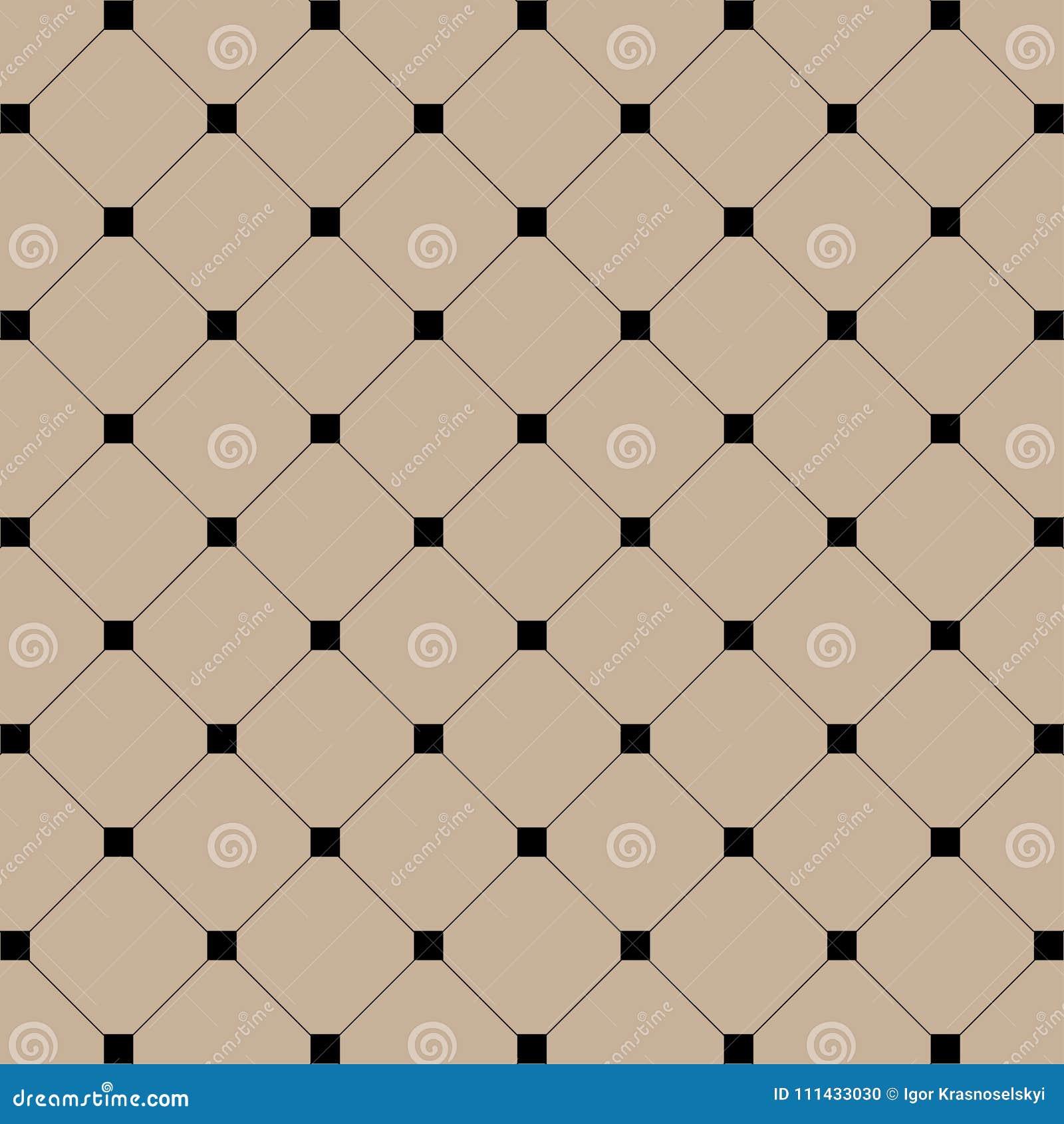 Geometryczna ilustracja Czarni kwadraty z liniami na brawn tle abstrakcjonistycznego tła ilustraci wzoru bezszwowy wektor