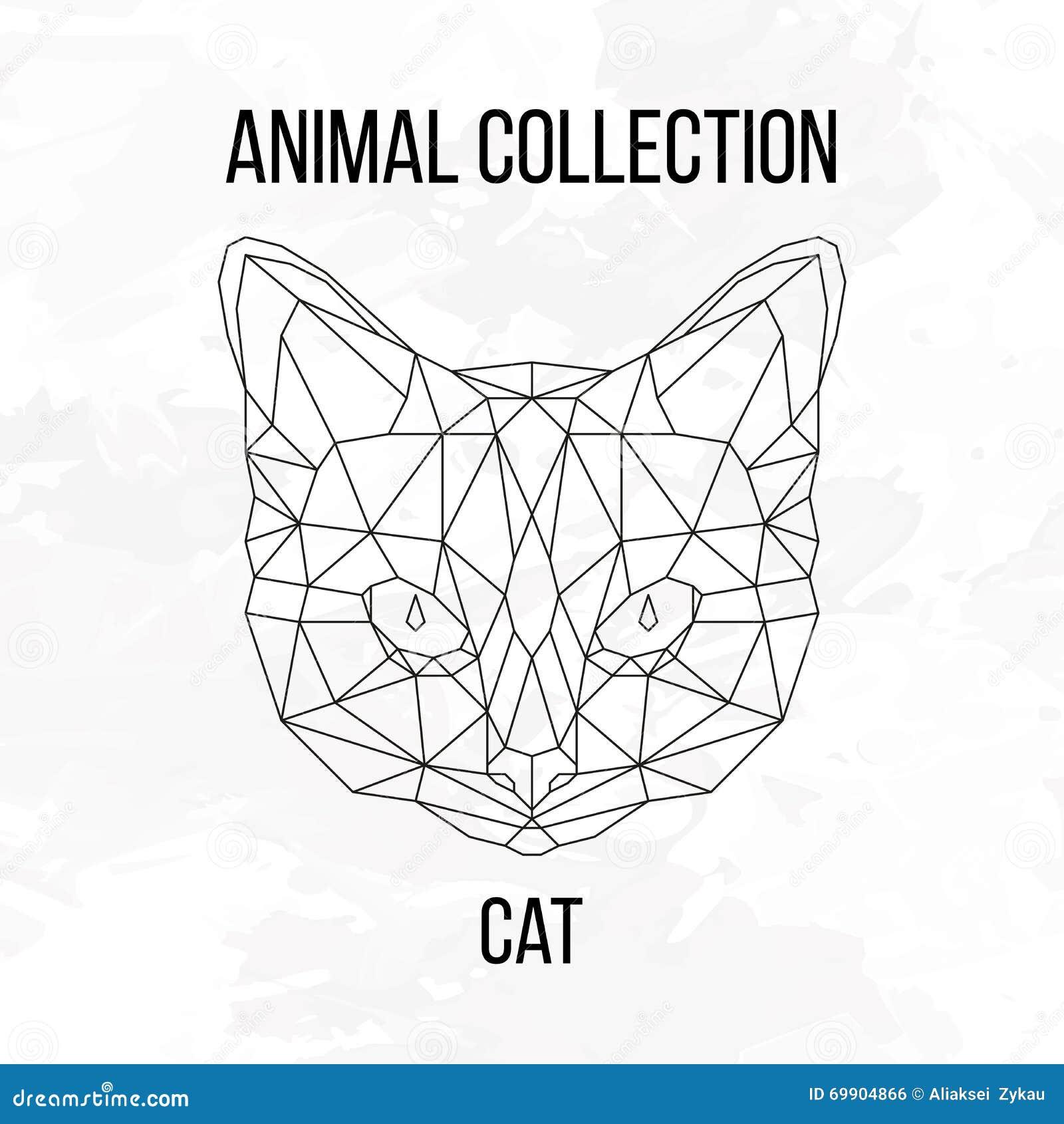 Geometryczna Kot Głowa Ilustracja Wektor Ilustracja Złożonej Z