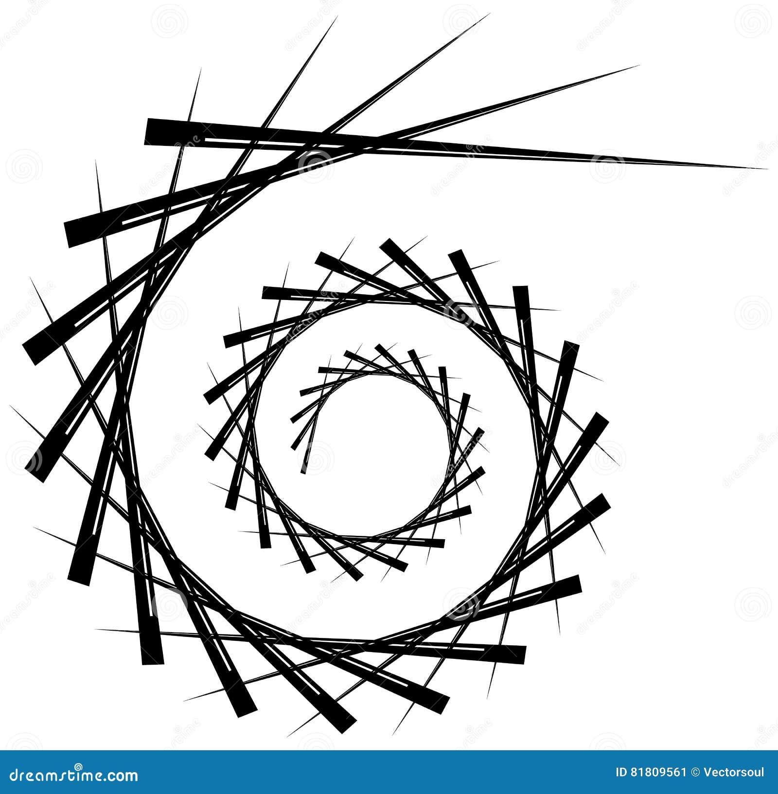 Geometryczna kurendy spirala Abstrakcjonistyczny graniasty, zirytowany kształt w rotat,