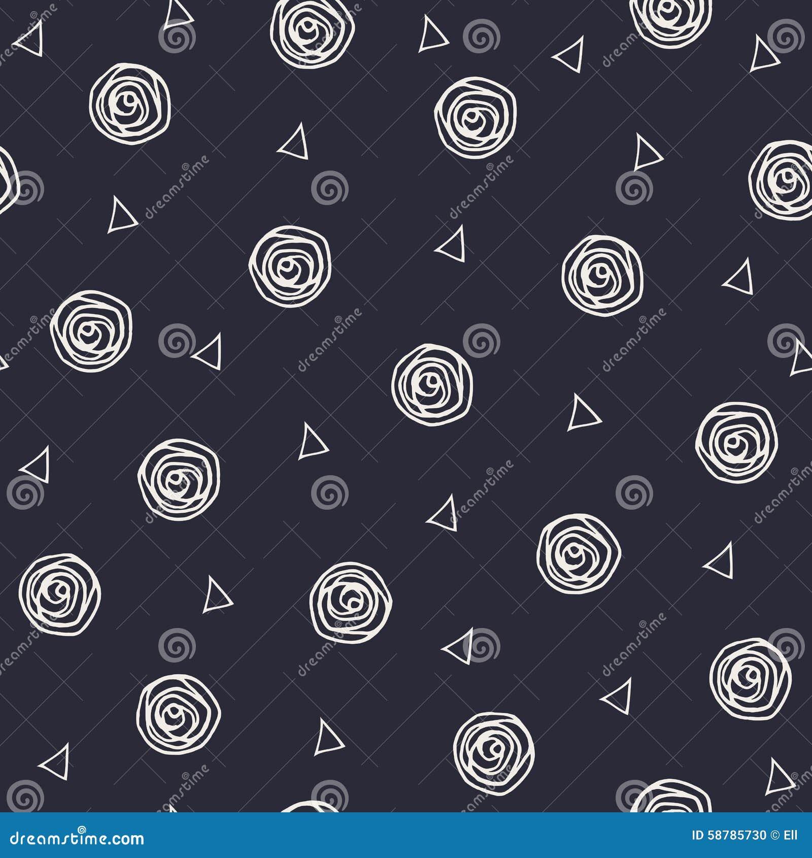 Geometryczna ręka rysujący polka trójboki i kropki
