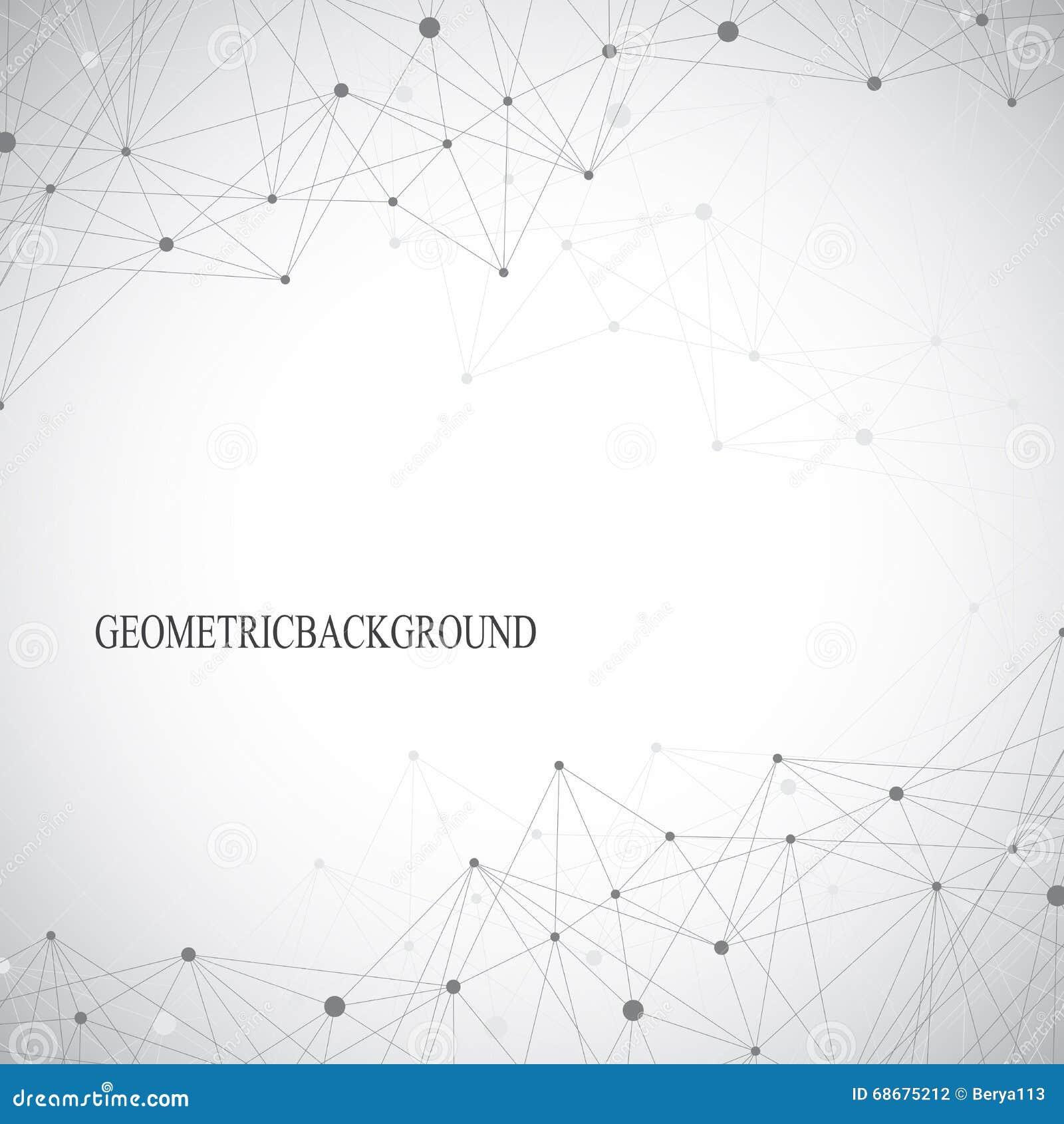 Geometrycznego abstrakta popielaty tło z związanymi liniami i kropkami Medycyna, nauka, technologii tło dla twój projekta