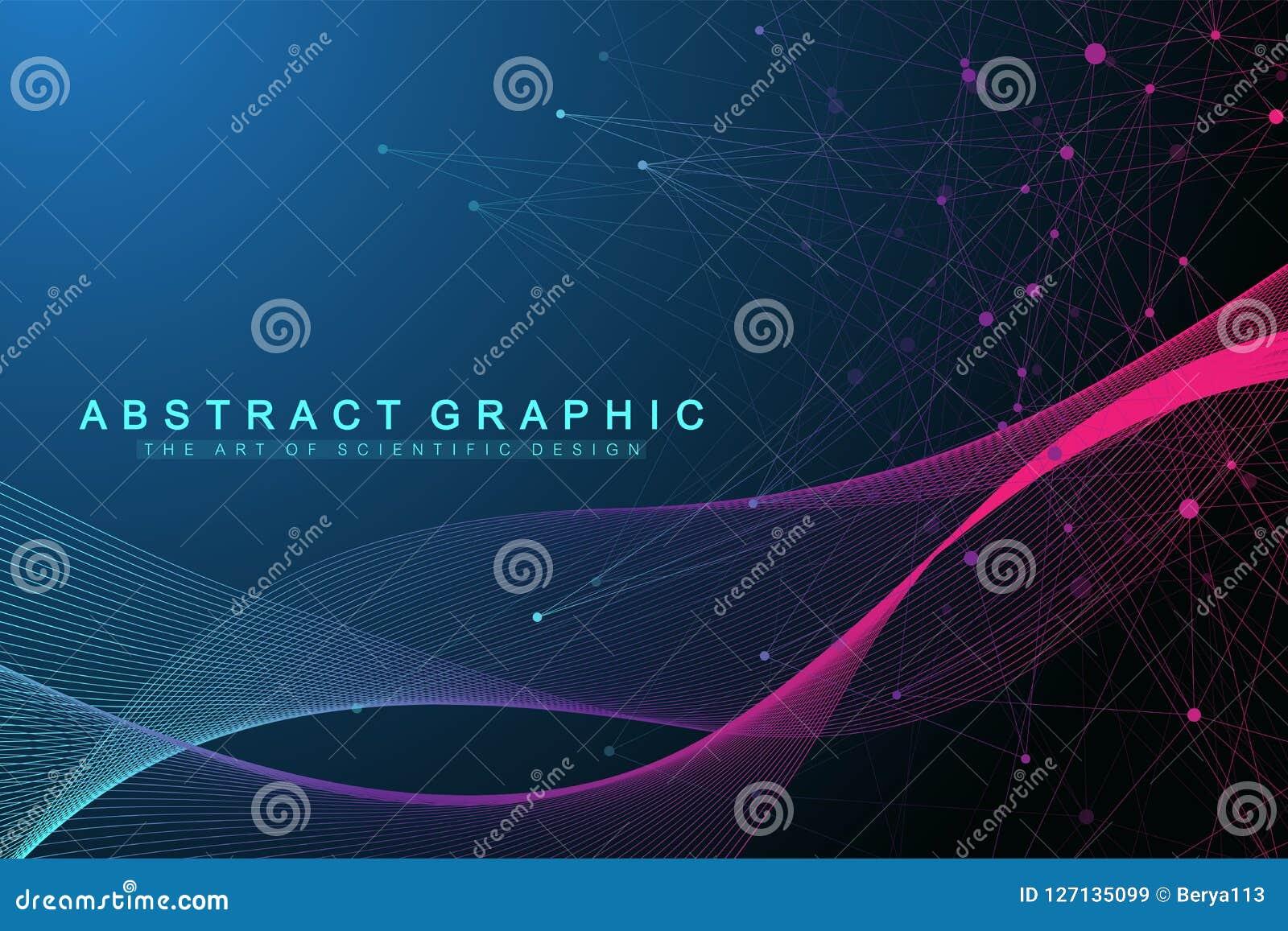 Geometryczny abstrakcjonistyczny tło z związanymi liniami i kropkami Falowy przepływ Sztuczna inteligencja i maszynowy uczenie