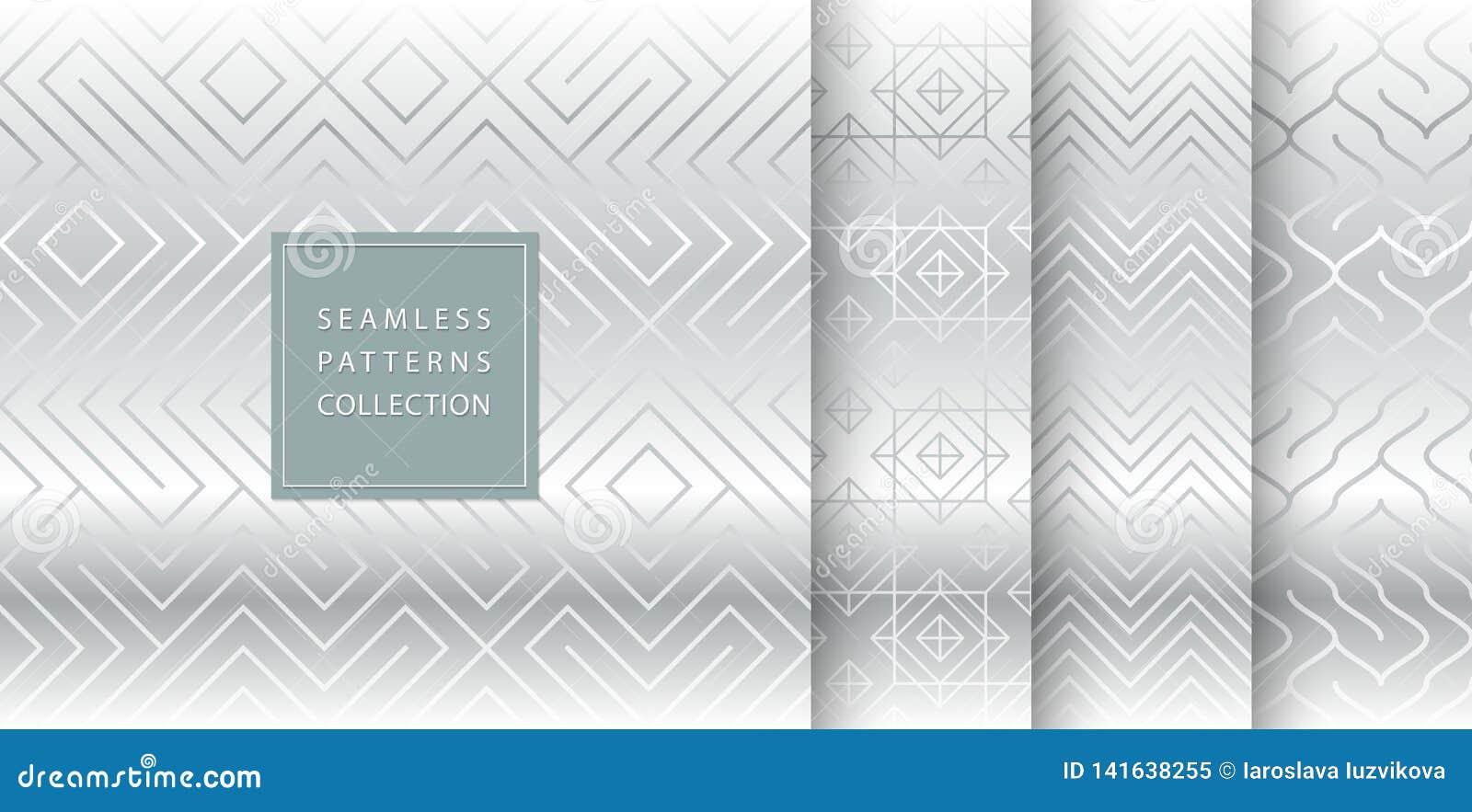 Geometryczny bezszwowy srebro wzoru tło Prosty wektorowej grafiki szarość druk Wielostrzałowy kreskowy abstrakcjonistyczny tekstu