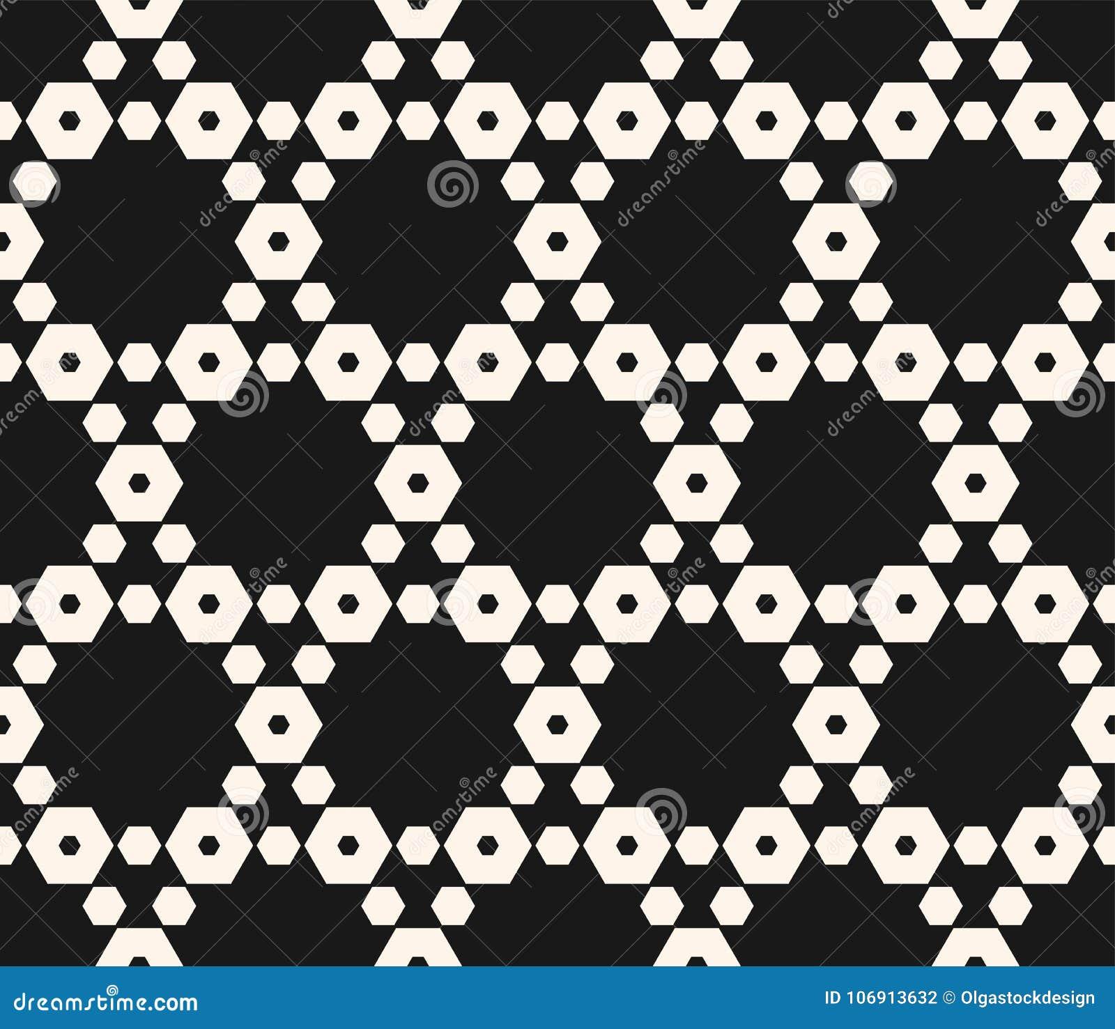 Geometryczny bezszwowy wzór z heksagonalną kratownicą czerń