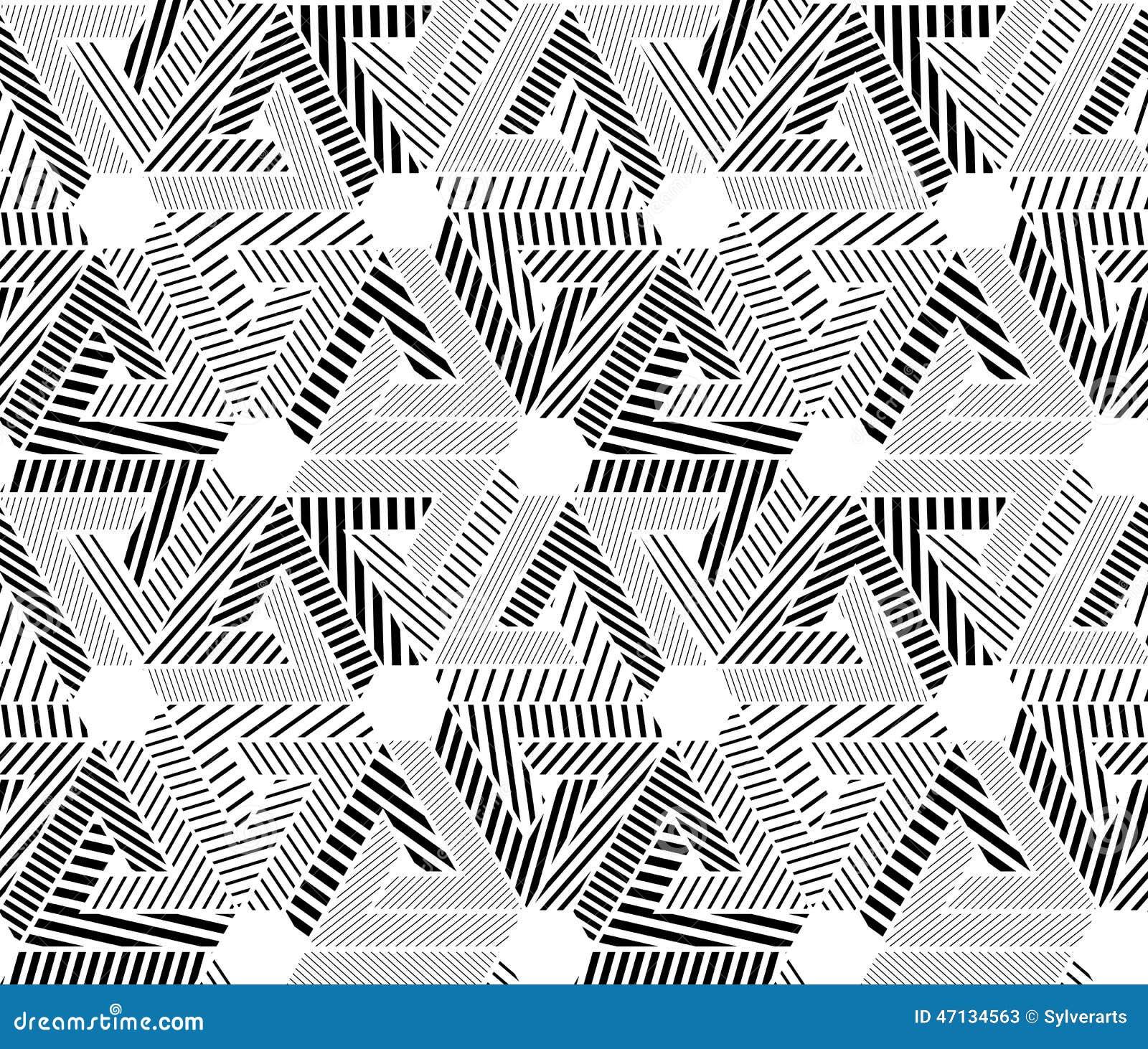 Geometryczny czarny i biały bezszwowy wzór, niekończący się pasiasty vect