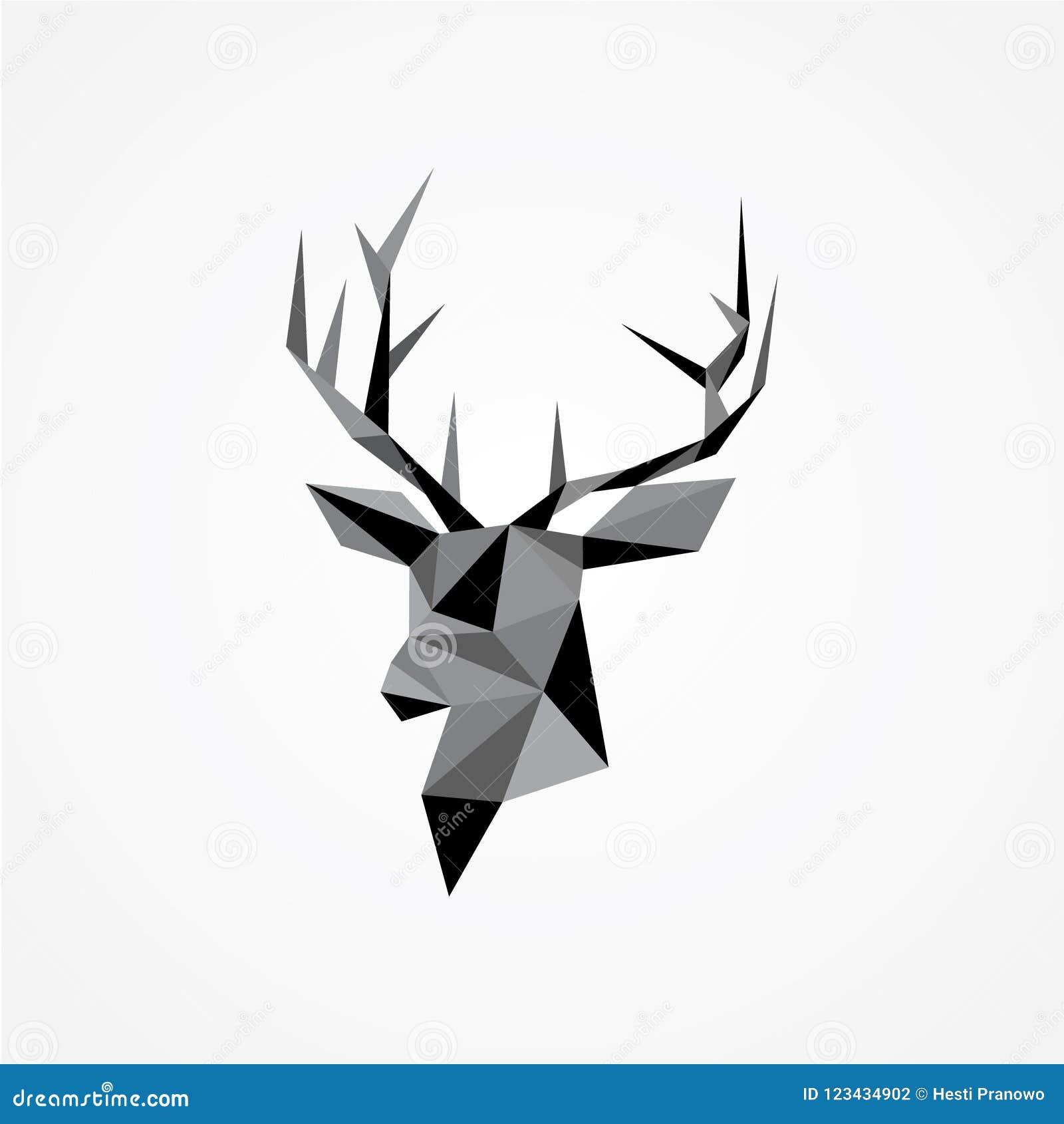 Geometryczny Wektor Jelenia S Głowa Z Poroże Ilustracja