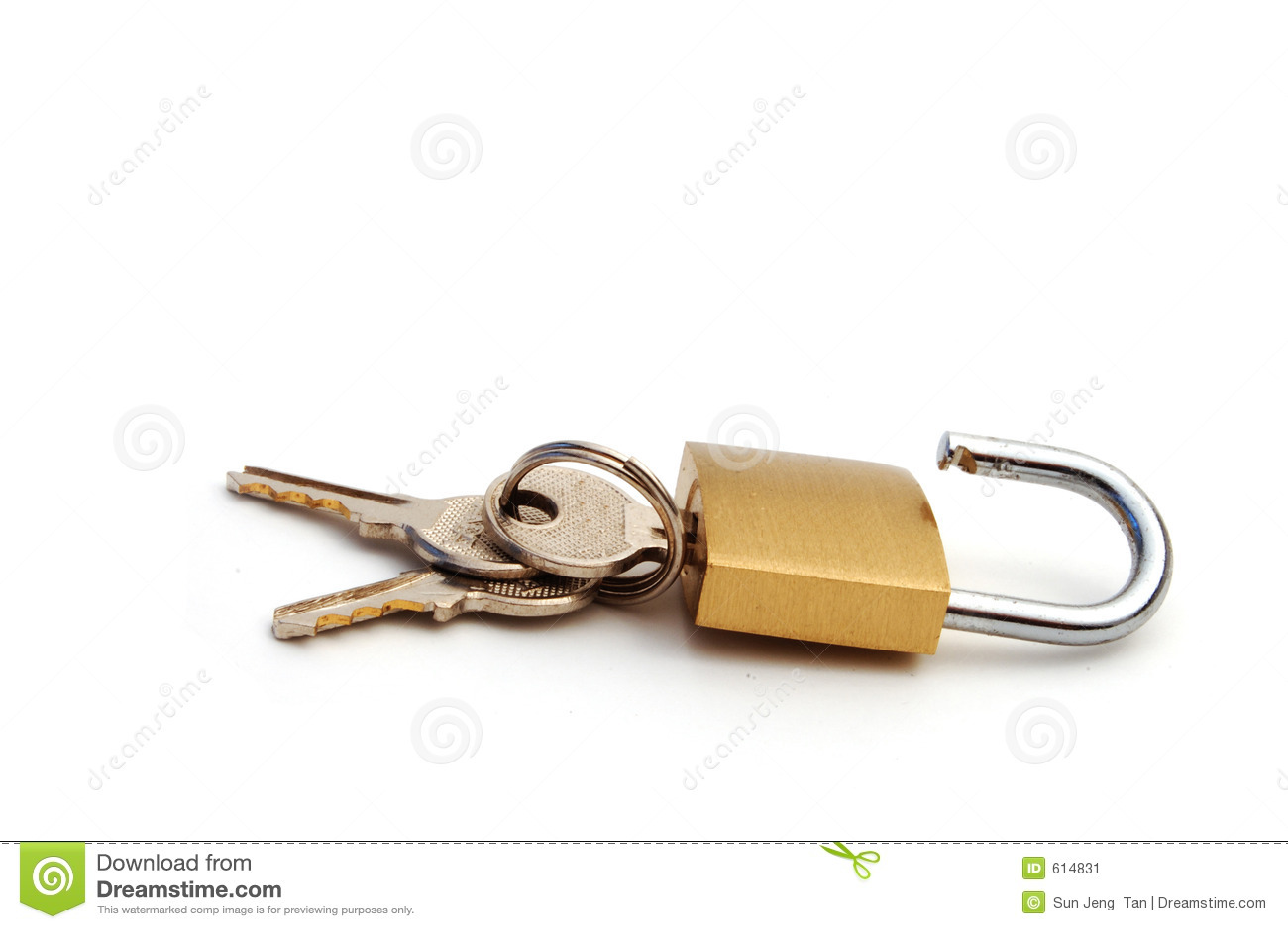 Geopend stootkussenslot met sleutels