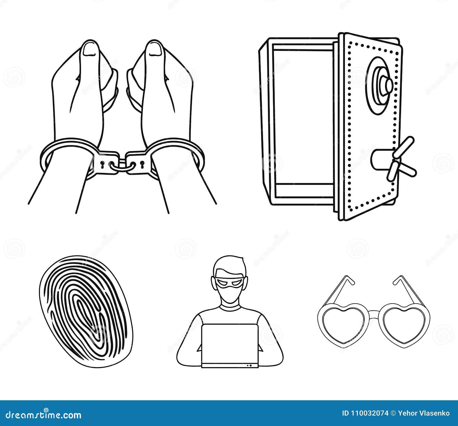 Geopende brandkast, handcuffs op de handen, een hakker, een vingerafdruk Pictogrammen van de misdaad de vastgestelde inzameling i