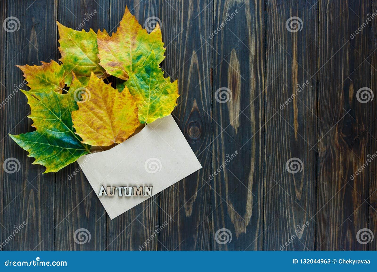 Geopende document envelop op oude bruine houten achtergrond met gele bladeren Uitstekende stijl van mededeling
