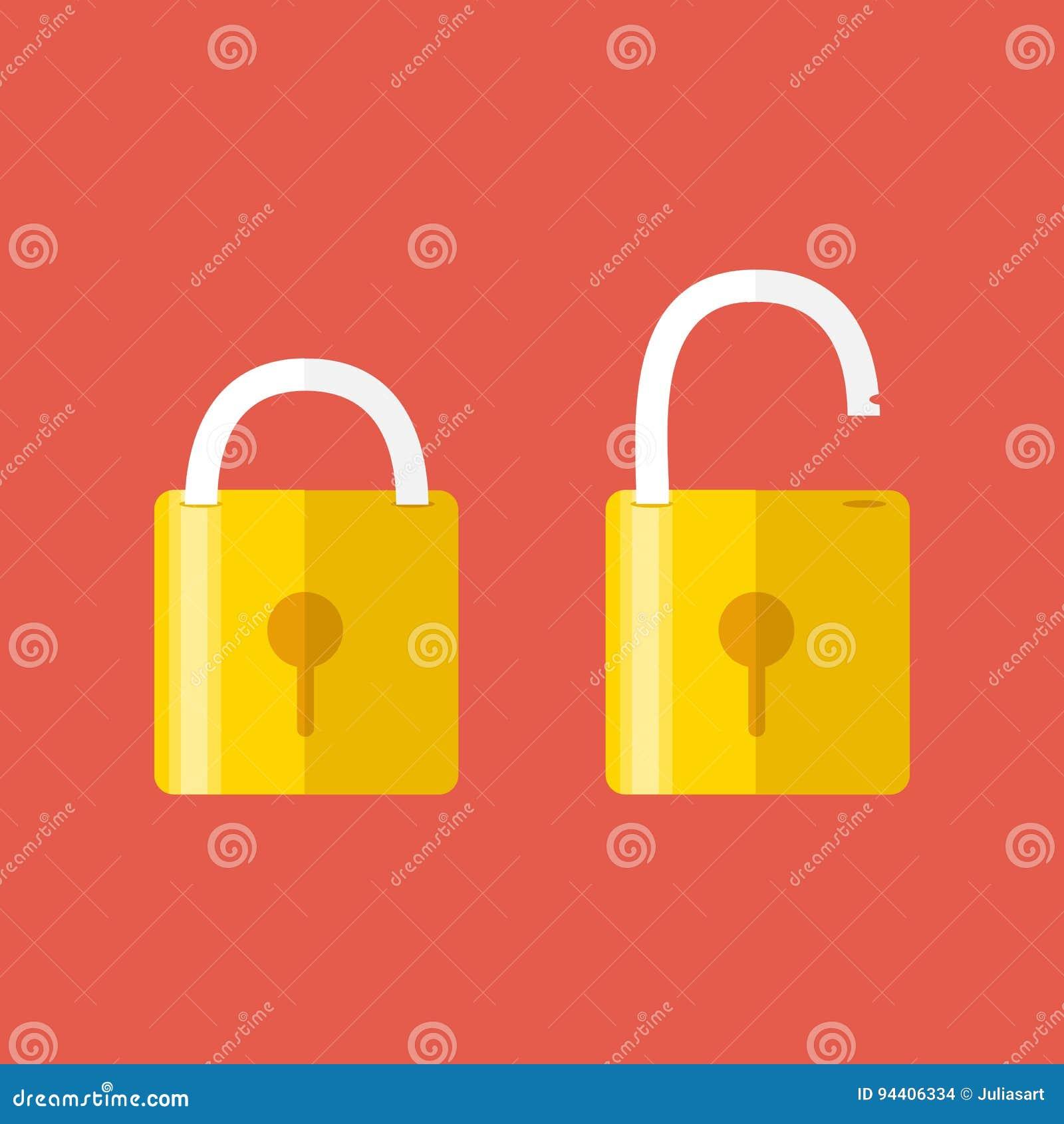 Geopende en gesloten sloten Vlakke stijl Concept wachtwoord