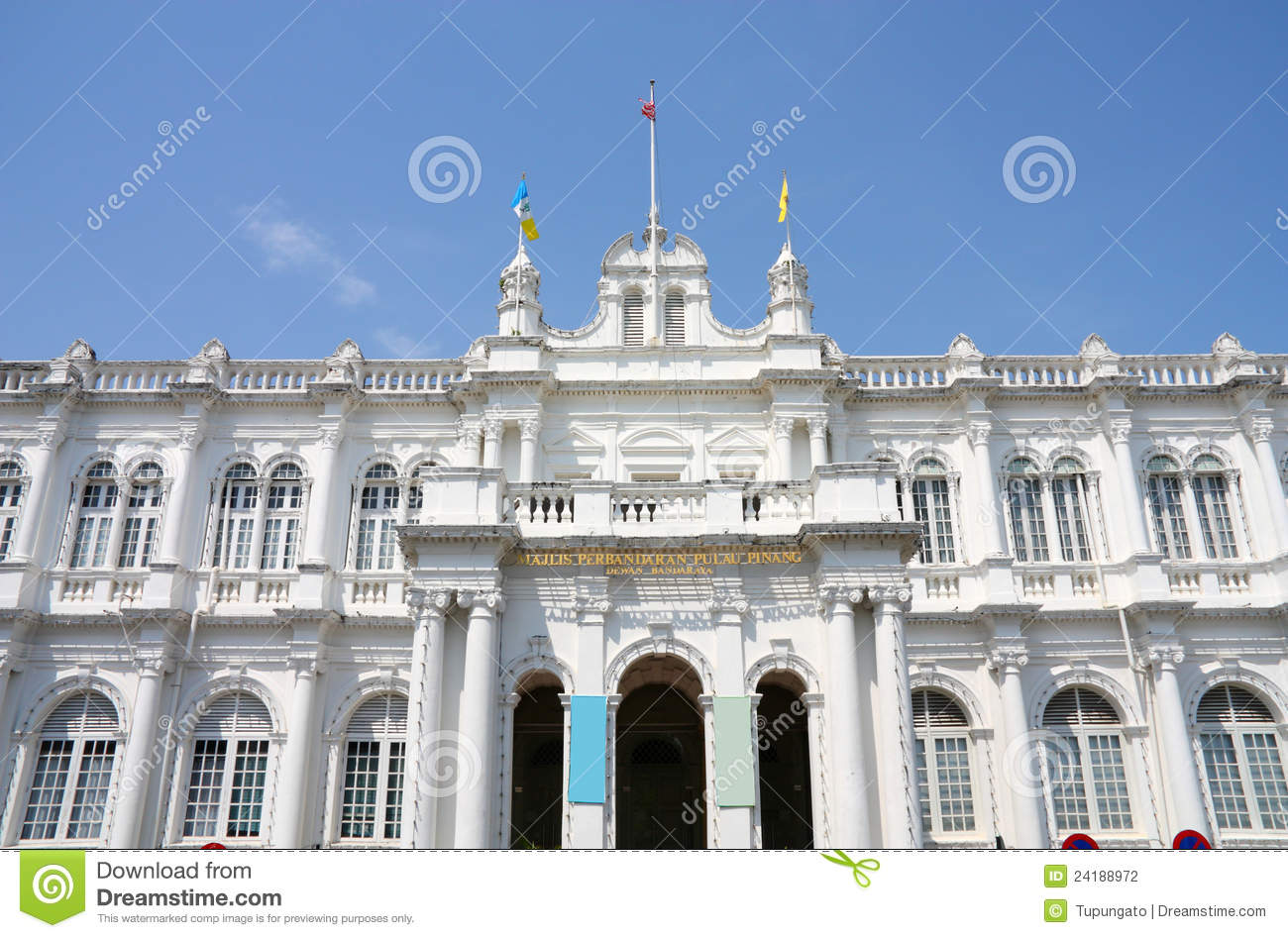 George Town - City Hall. Penang Island, Malaysia. Colonial ...