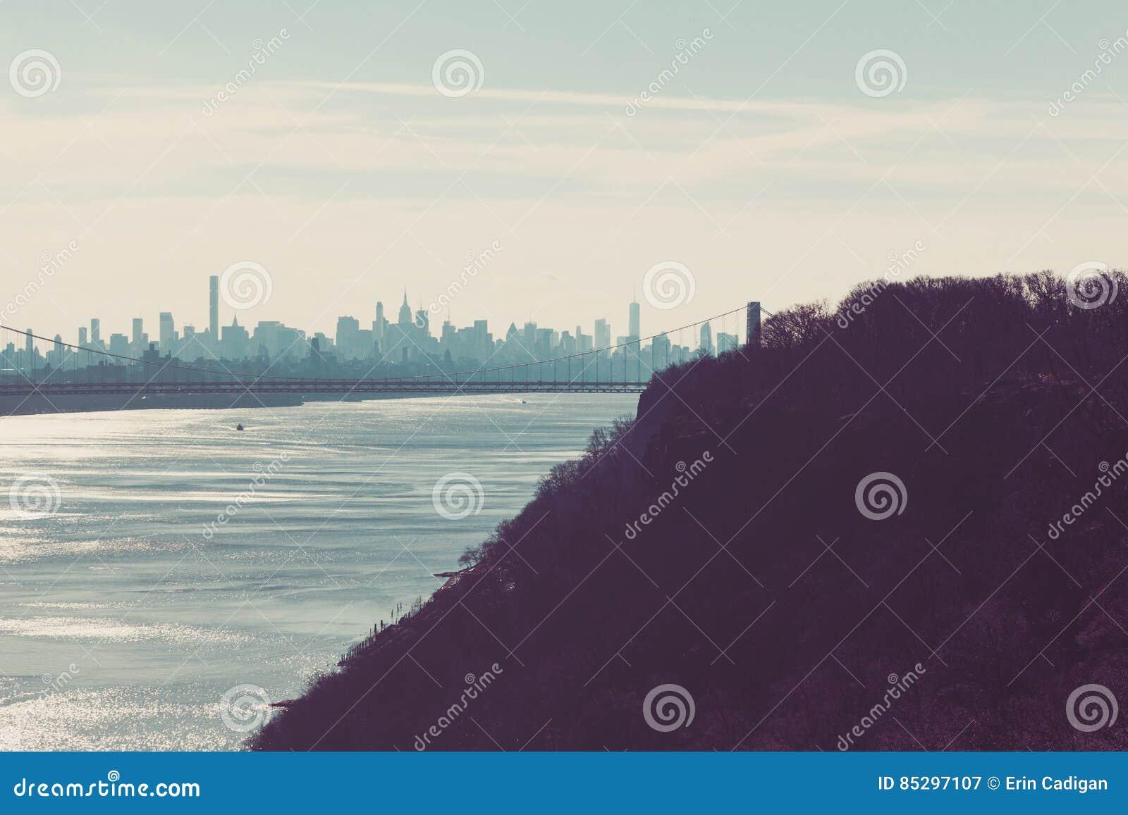 George Washington Bridge and the New York Skyline from Palisades