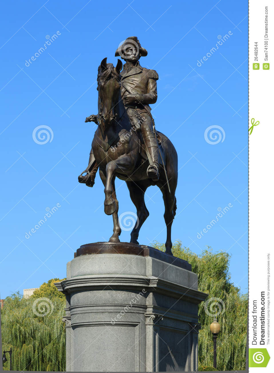 George Washington Statue In Boston Common Park Stock
