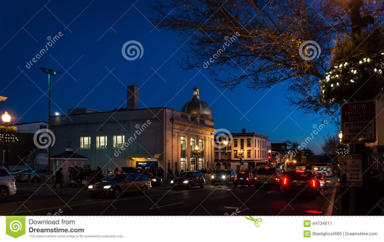 Georgetown alla notte in Washington DC