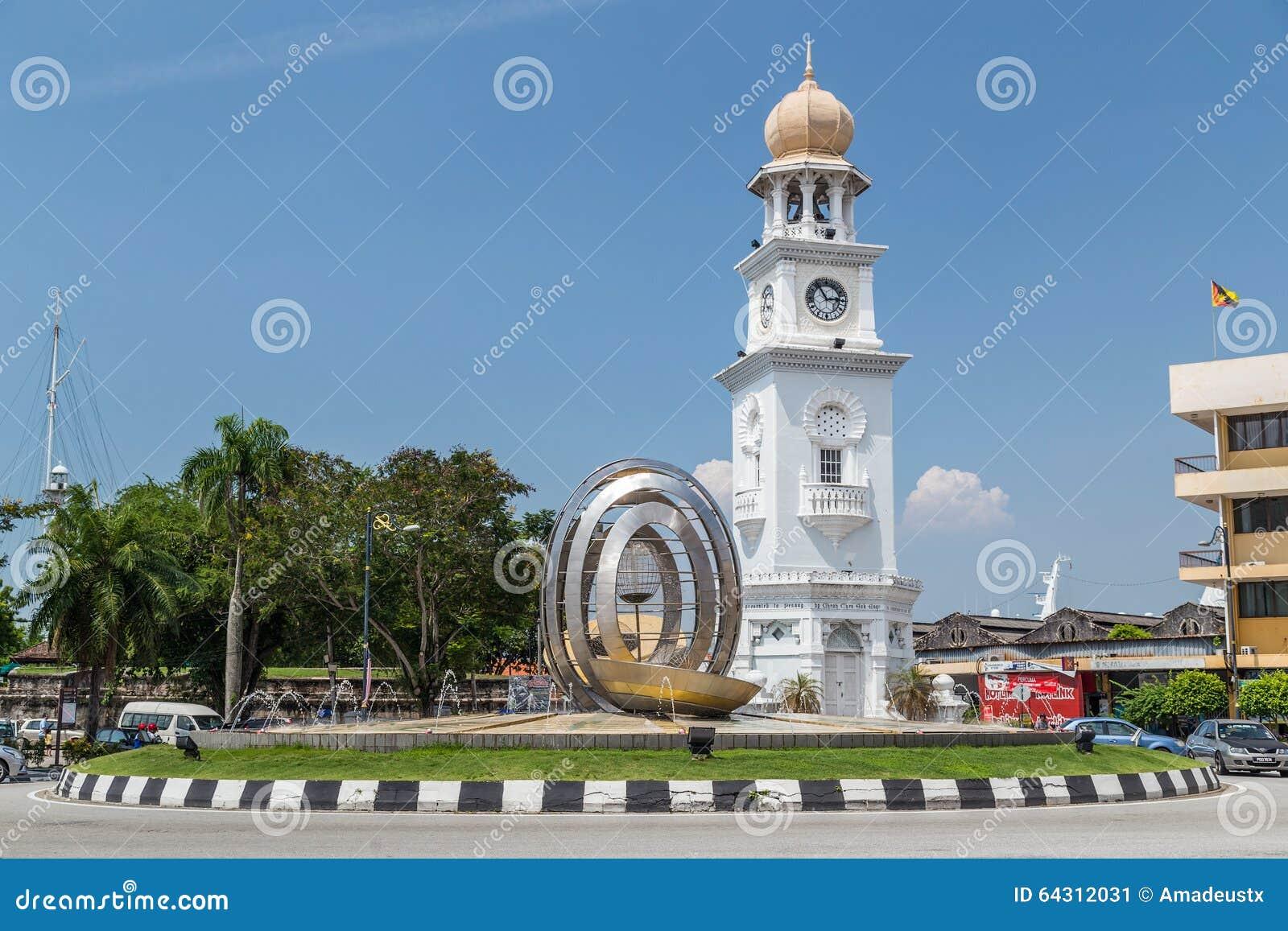 Georgetown, Penang/Malasia - circa octubre de 2015: Reina Victoria Memorial Clocktower en Georgetown, Penang, Malasia