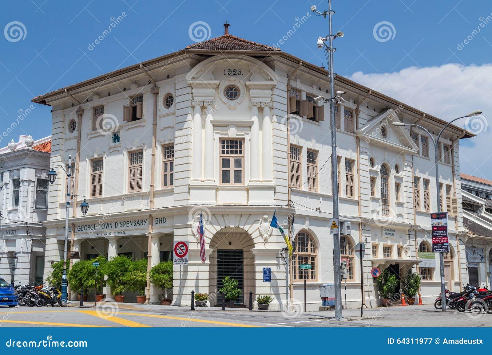 Georgetown Penang/Malaysia - circa Oktober 2015: Brittisk kolonial byggnad i Georgetown, Penang, Malaysia