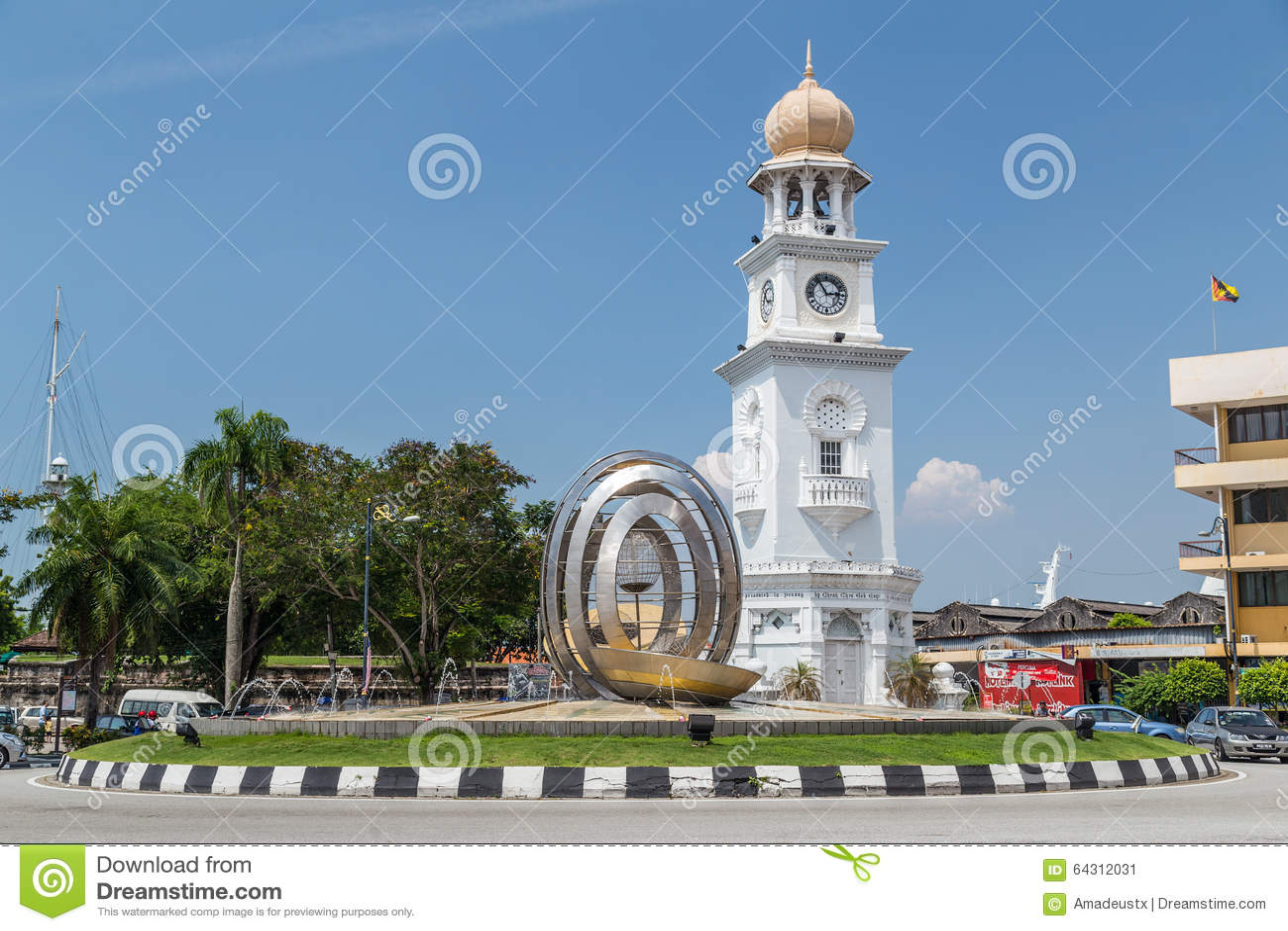 Georgetown Penang/Malaysia - circa Oktober 2015: Drottning Victoria Memorial Clocktower i Georgetown, Penang, Malaysia
