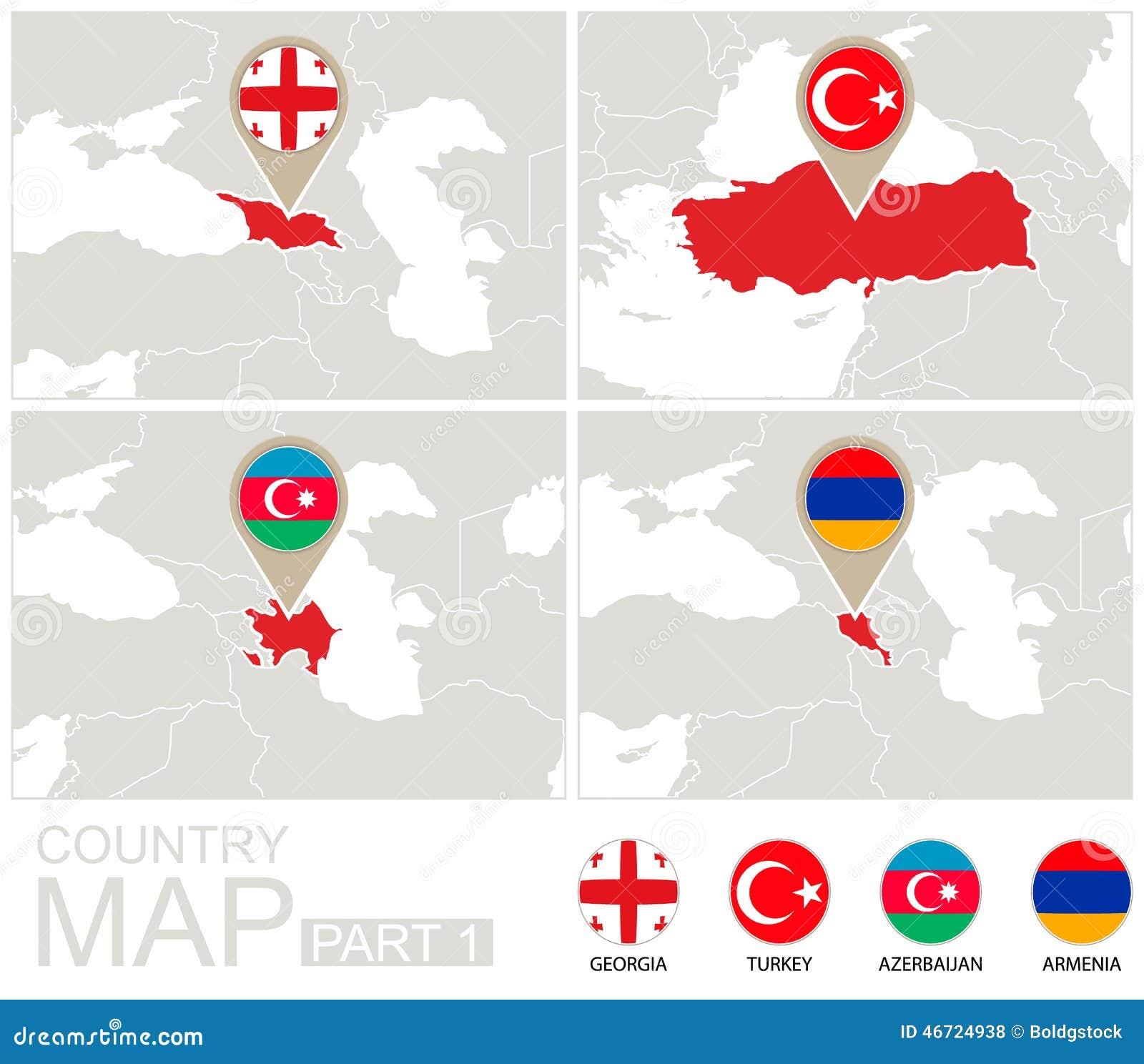 Georgia, Турция, Азербайджан, Армения на карте Европы Иллюстрация ...