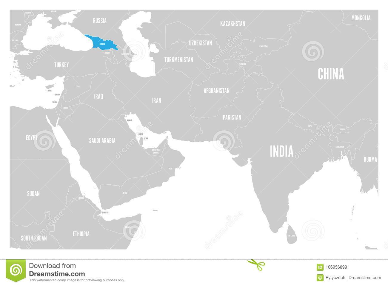 Political Map Of Georgia.Georgia Blue Marked In Political Map Of South Asia And Middle East