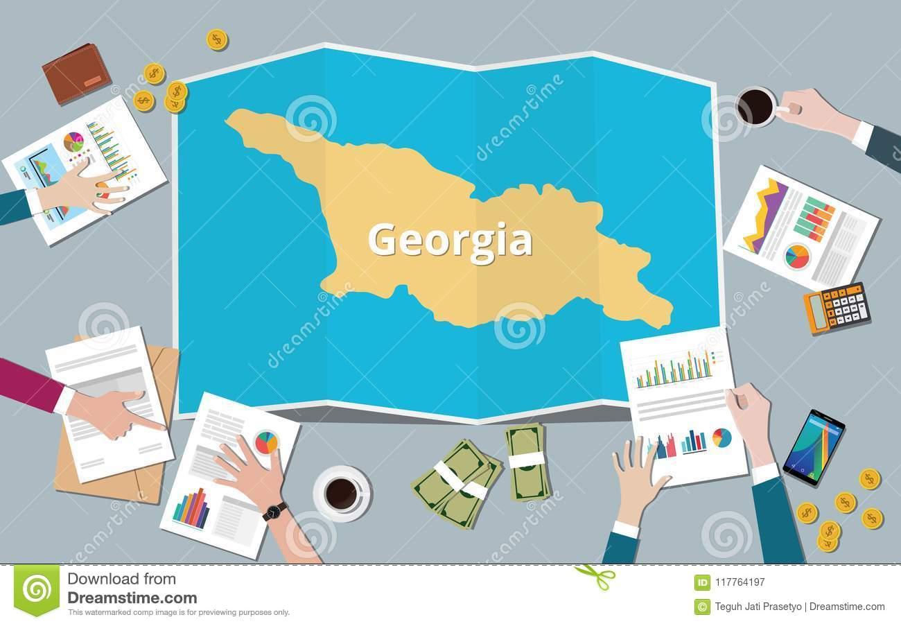 Map Of Country Of Georgia.Georgia Country Growth Nation Team Discuss With Fold Maps View From
