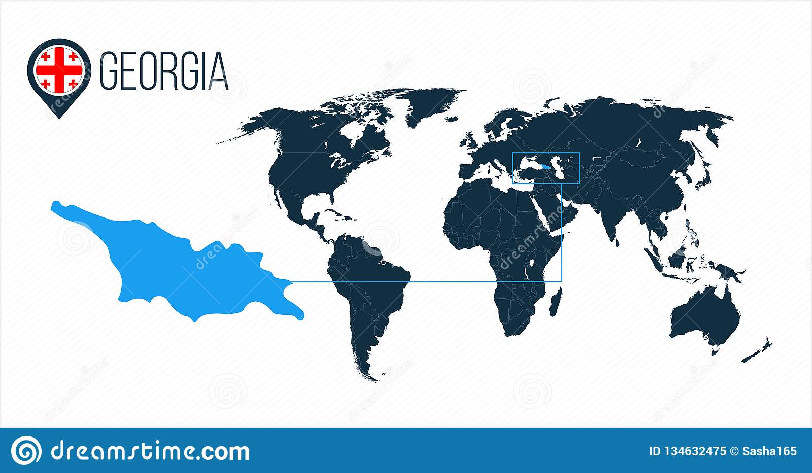 Georgia Location On The World Map For Infographics. All ...