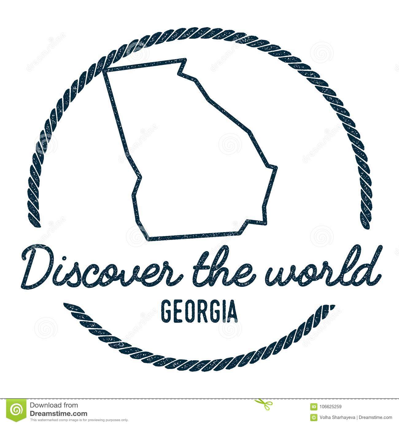 Georgia Map Outline Vintage Discover The World Stock Vector