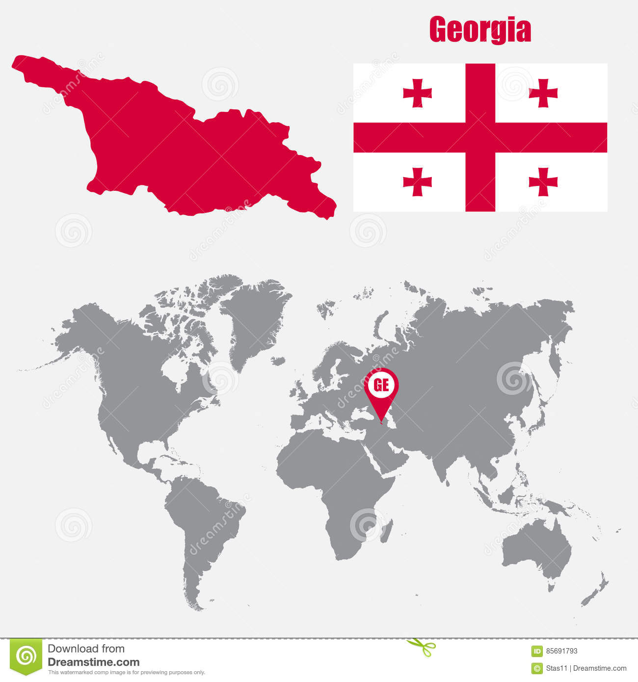Georgia Map On A World Map With Flag And Map Pointer. Vector ...