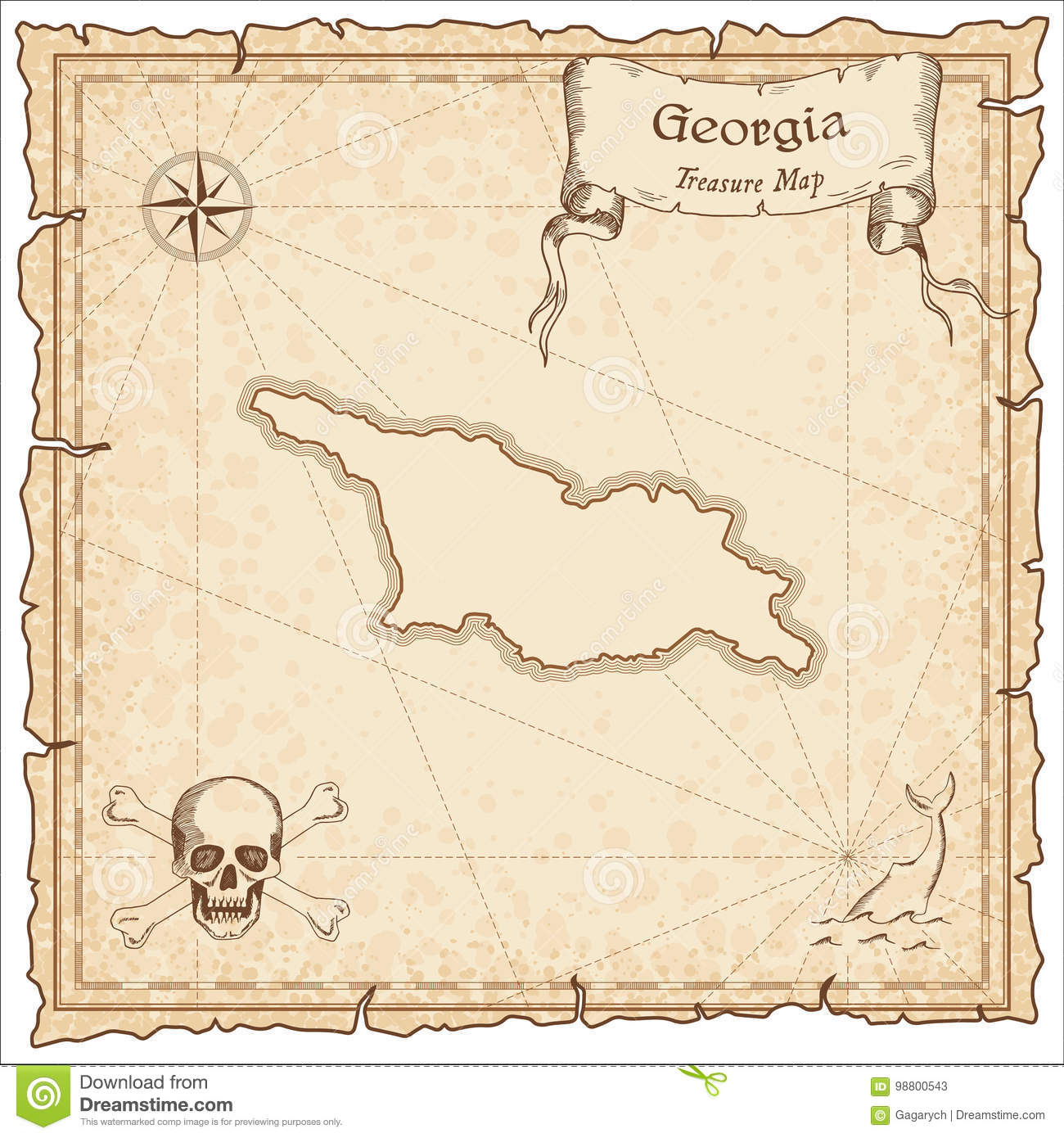 Georgia Old Pirate Map Stock Vector Illustration Of Illustration