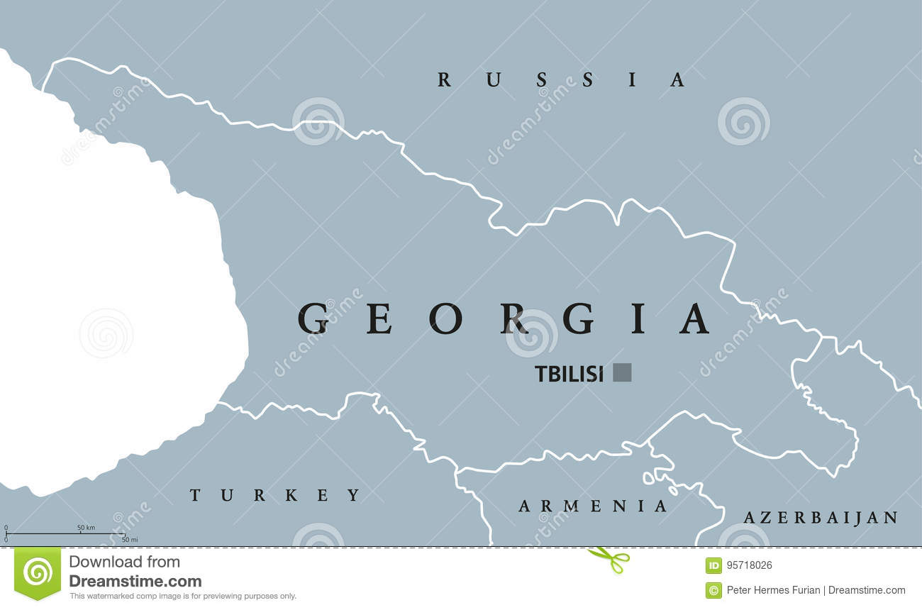 Georgia Political Map Stock Vector Image - Georgia map vector free download