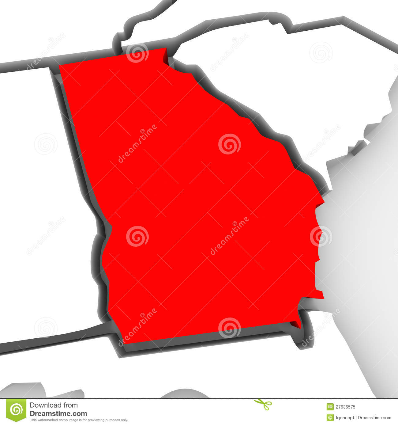 Georgia Red Abstract D State Map United States America Royalty - Us state map ga