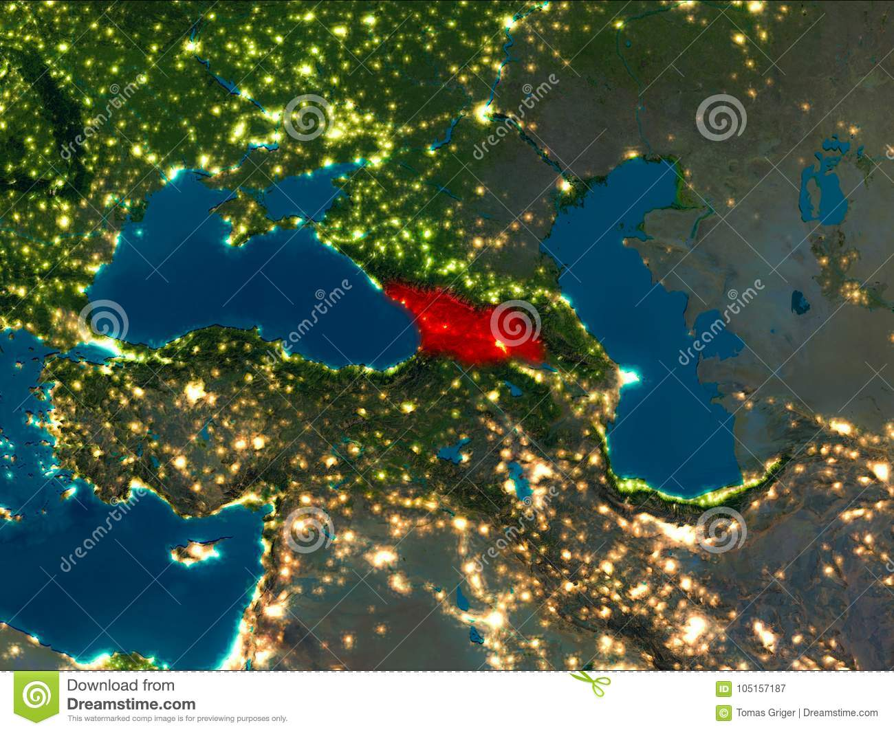Satellite Map Of Georgia.Georgia In Red At Night Stock Illustration Illustration Of City