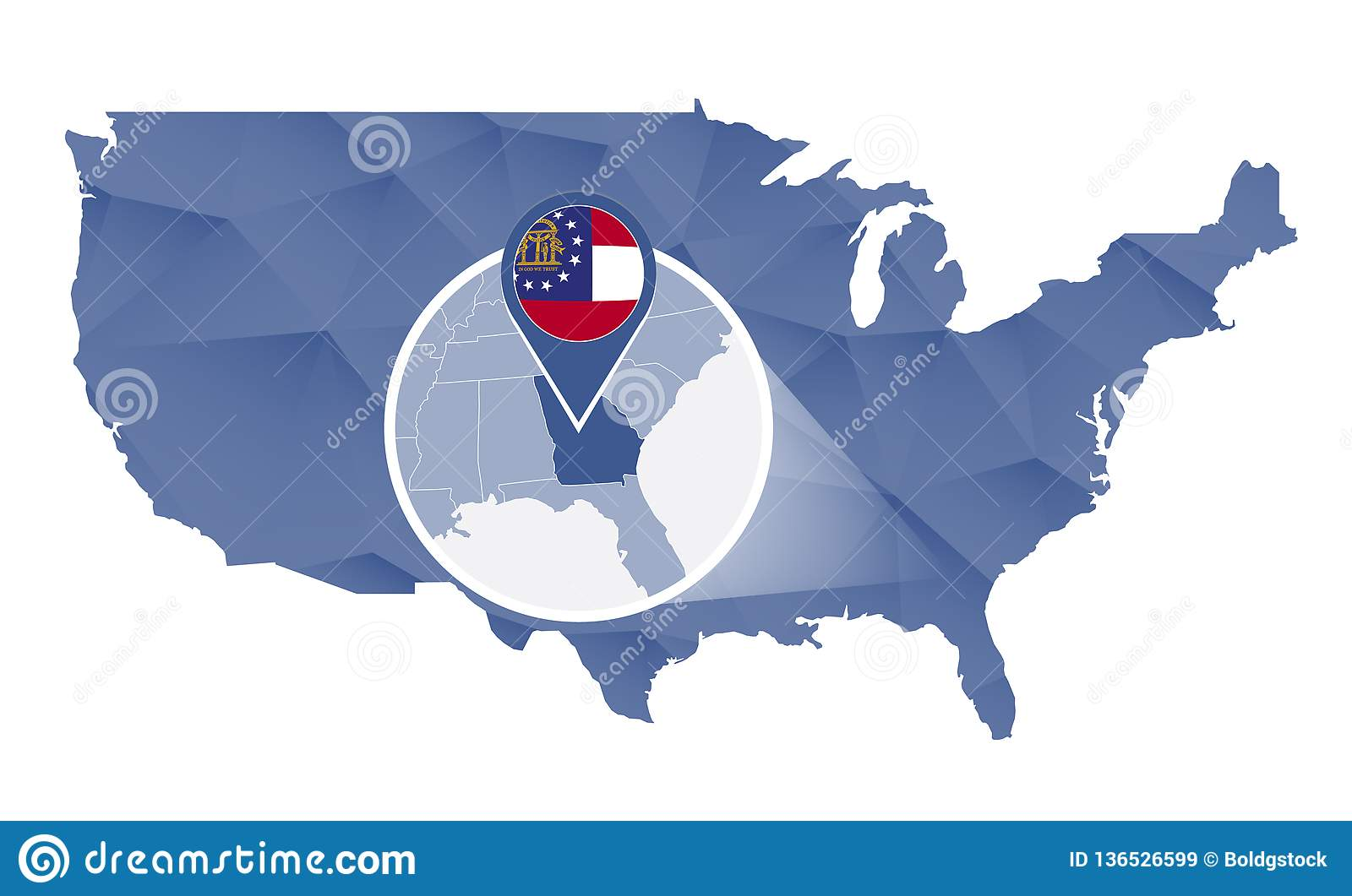 Georgia On Usa Map.Georgia State Magnified On United States Map Stock Vector