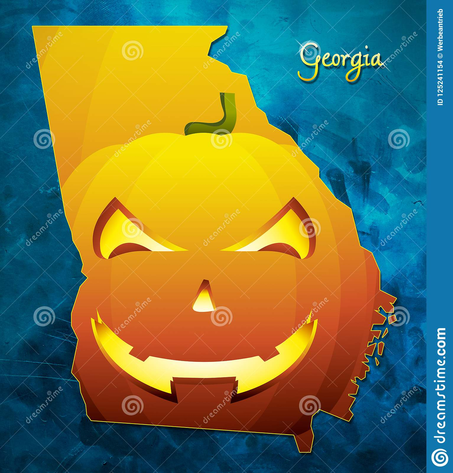 Georgia State Map Usa With Halloween Pumpkin Face Illustration Stock