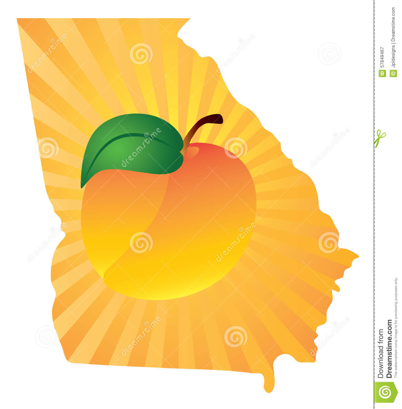 Georgia State With Peach Color Vector Illustration Stock Vector - Georgia map vector free download