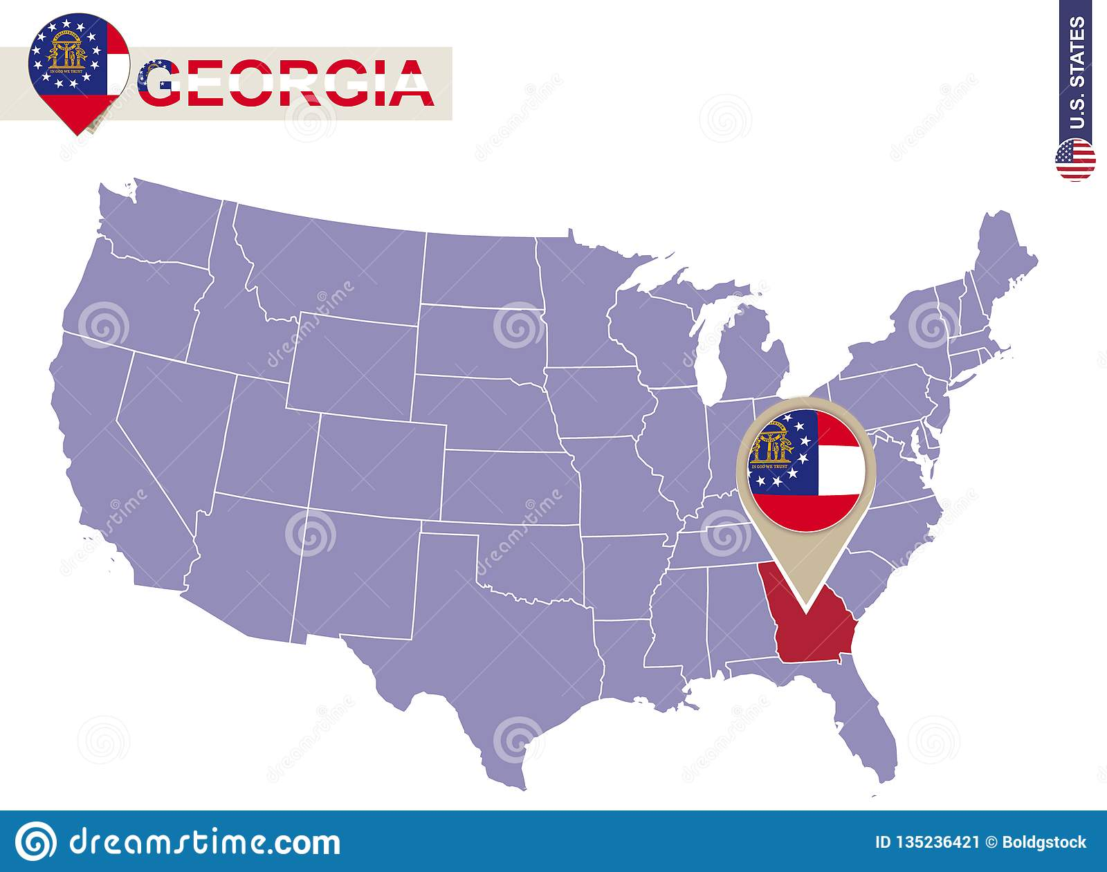 Georgia On Usa Map.Georgia State On Usa Map Georgia Flag And Map Stock Vector