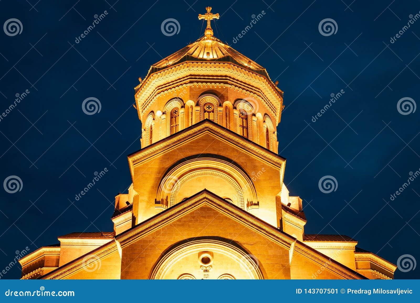 Georgia, Tbilisi - 05.02.2019. - Holy Trinity Sameba othodox cathedral. Night view - closeup