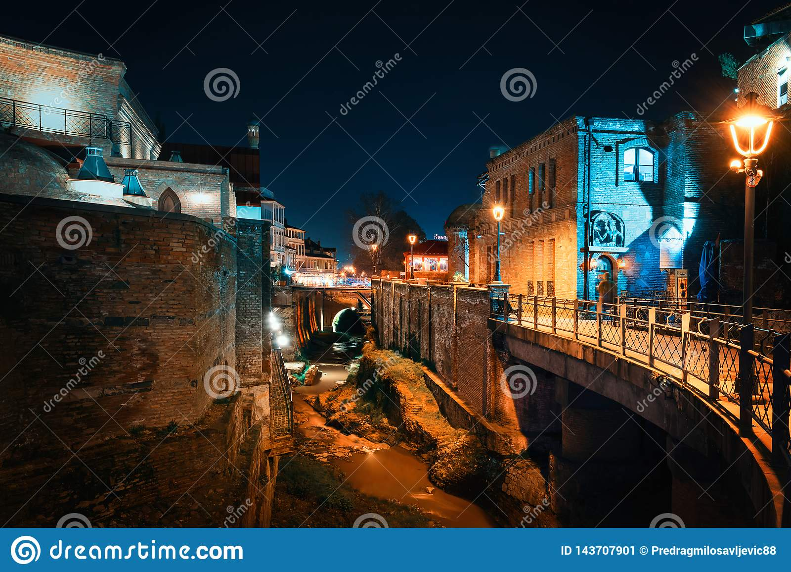 Georgia, Tbilisi - 05.02.2019. - Night time in Tbilisi old town Abanotubani, sulphur baths district