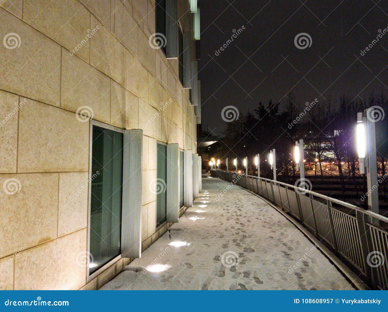 Georgia Tech-gebouwen tijdens het sneeuwonweer